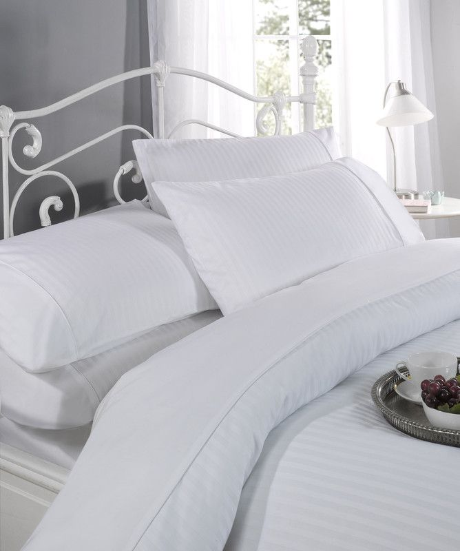 100% Cotton 300 TC Single Regency White Duvet Set