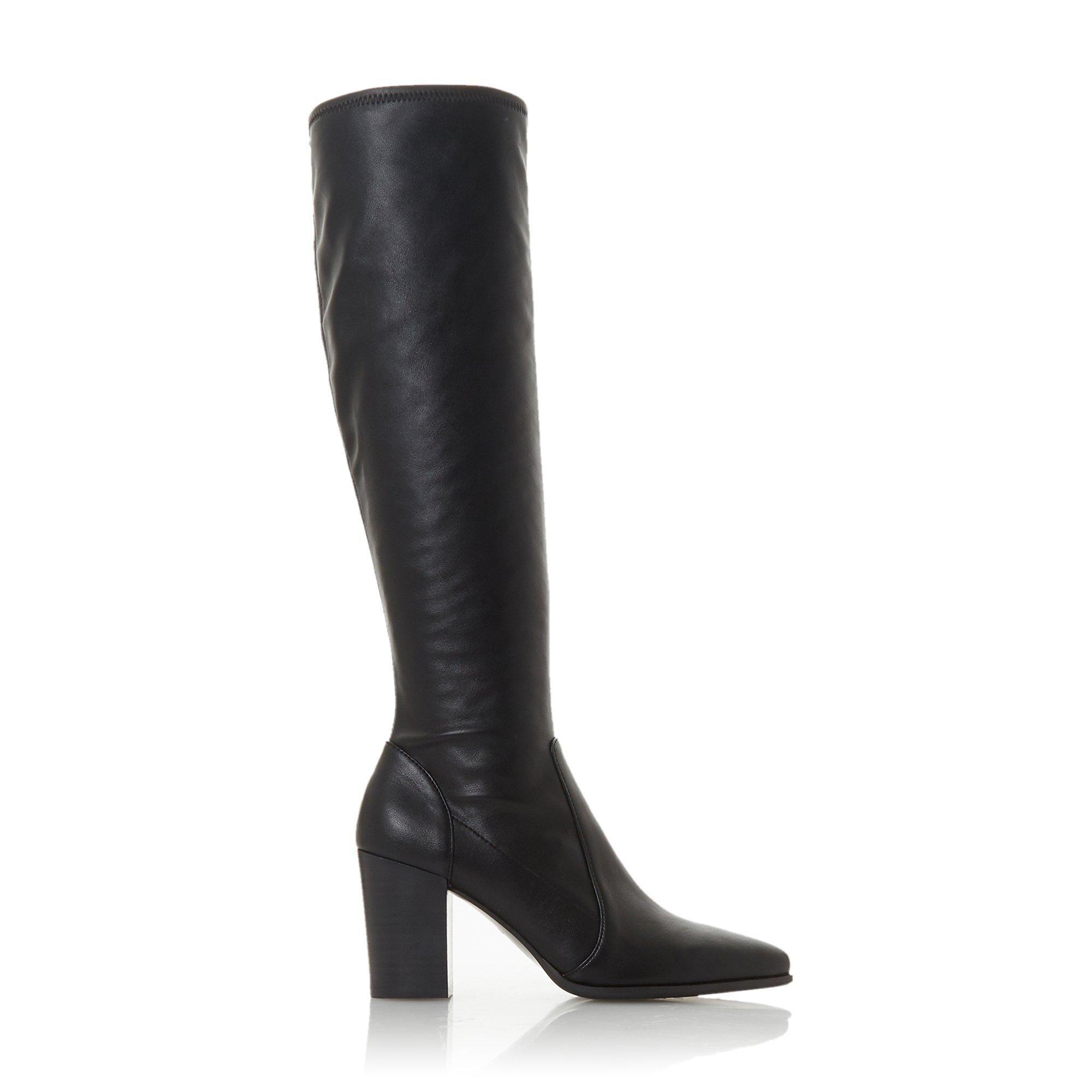 Dune Ladies SADEE Pull-On Block Heel Knee-High Boots