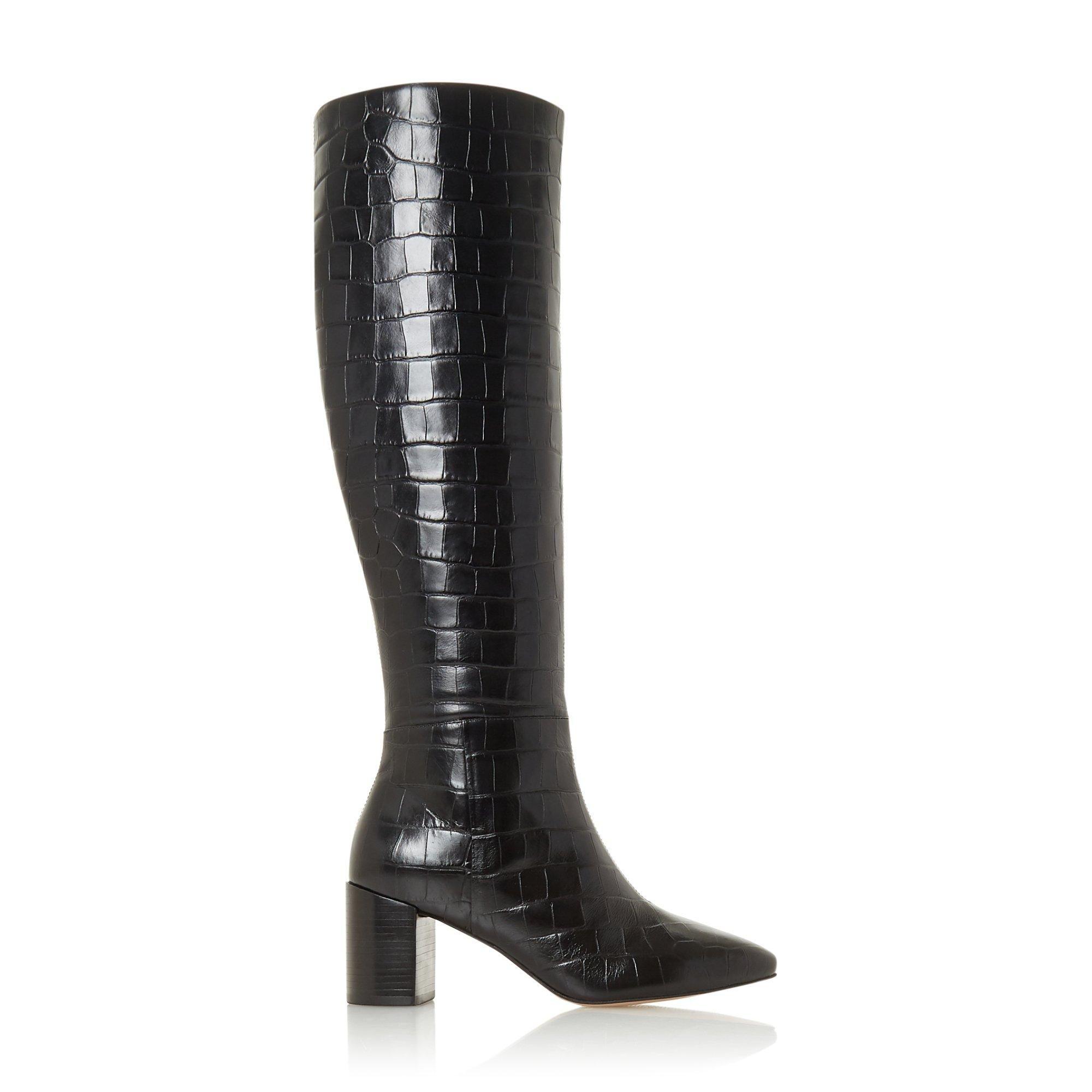 Dune Ladies SAFFIA Knee High Block Heel Boots