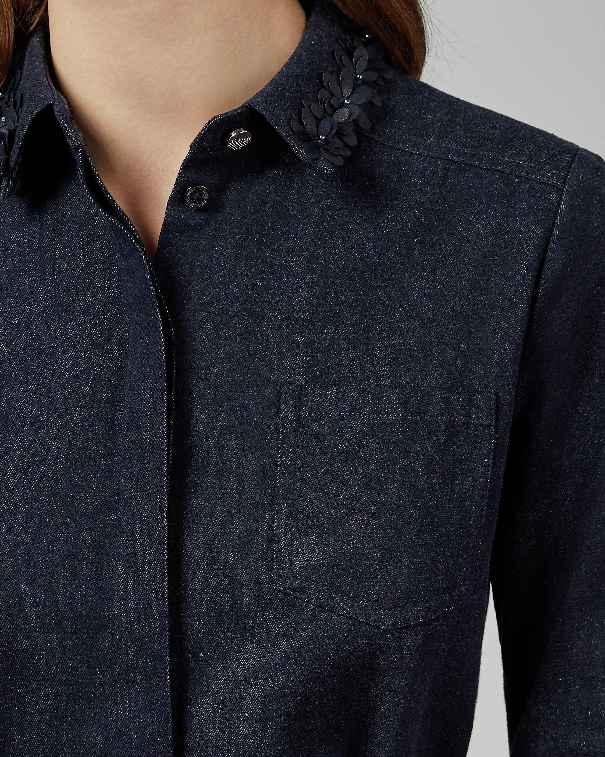 Ted Baker Salat Collar Detail Denim Shirt Dress in Navy
