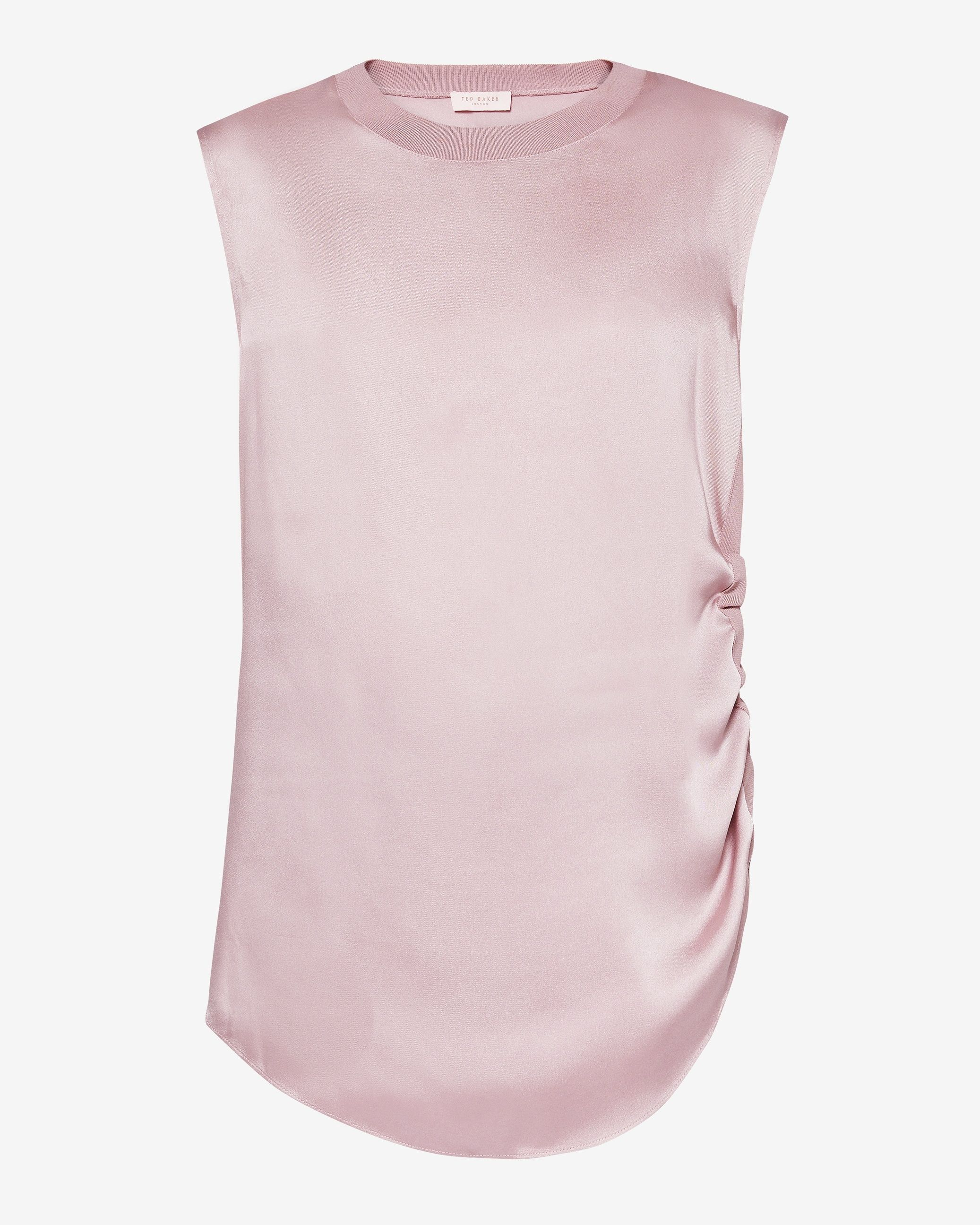 Ted Baker Samiey Ruched Side Knitted Trim Top, Dusky Pink