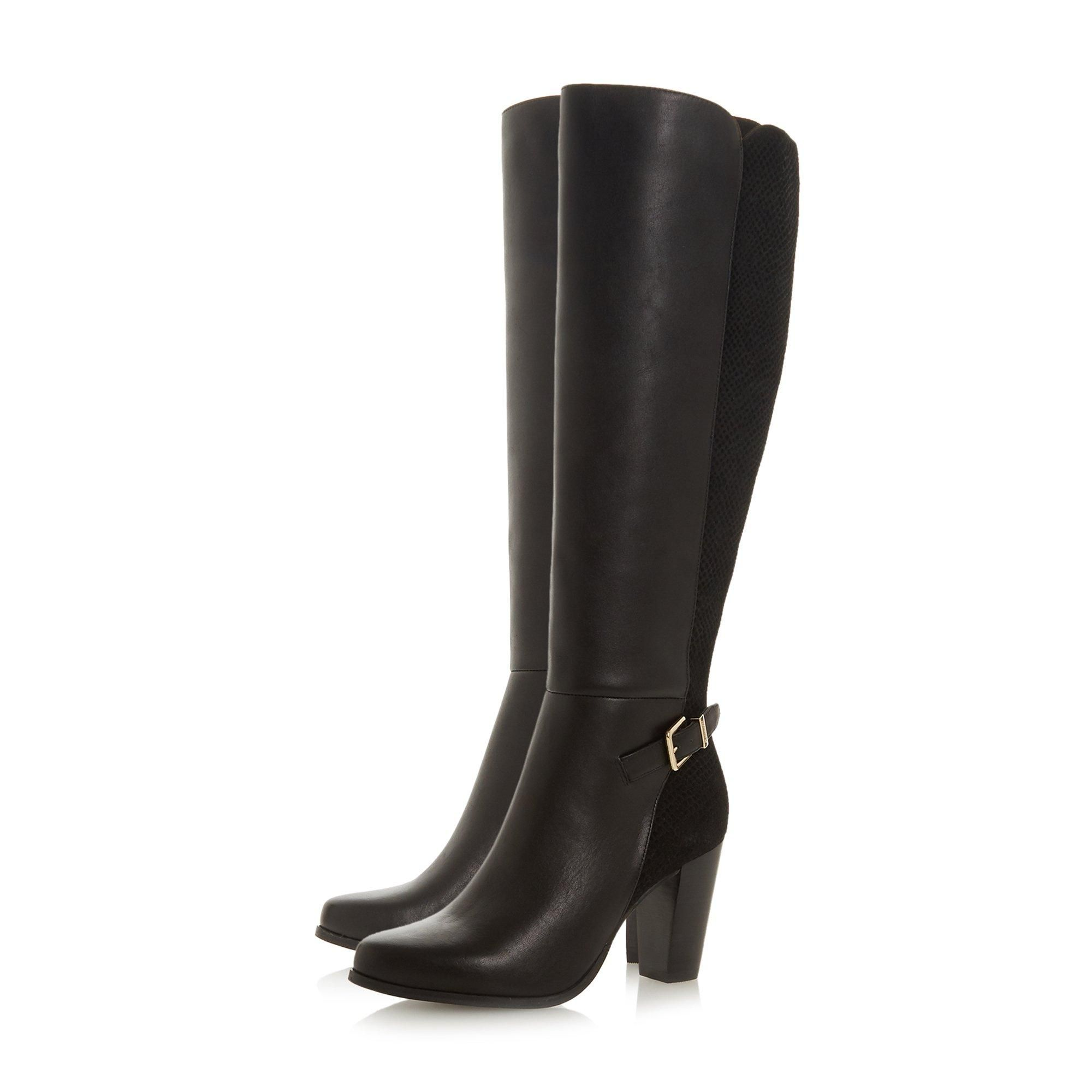 Dune Ladies SAMUELLA Mixed Material Knee High Buckle Strap Boots