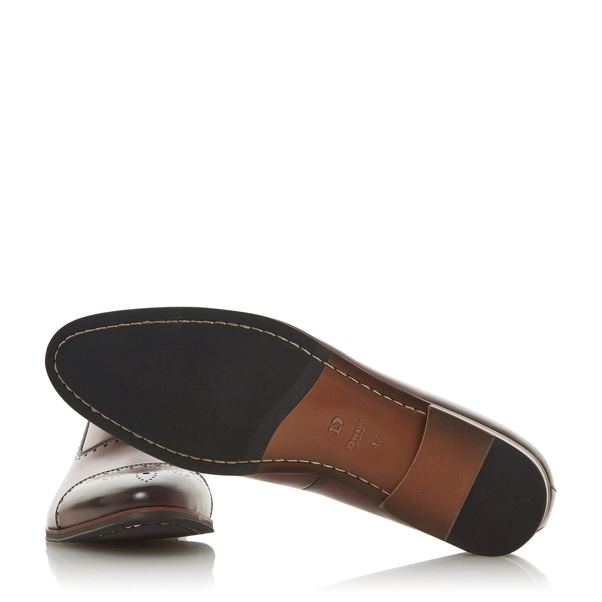 Dune Mens SANDALWOOD Burnished Brogue Toecap Shoes