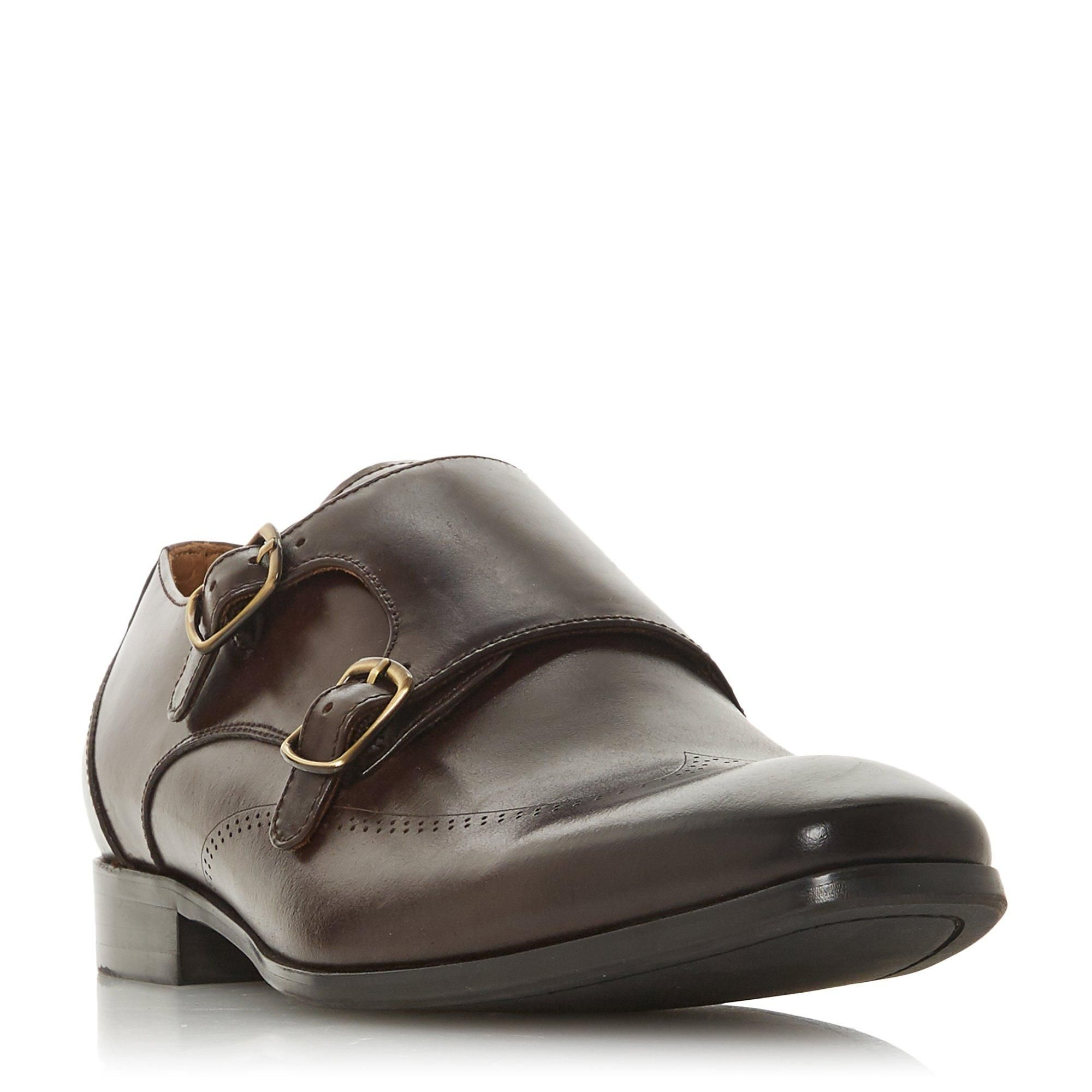 Dune Mens SASKATOON Double Buckle Brogue Detail Monk Shoe