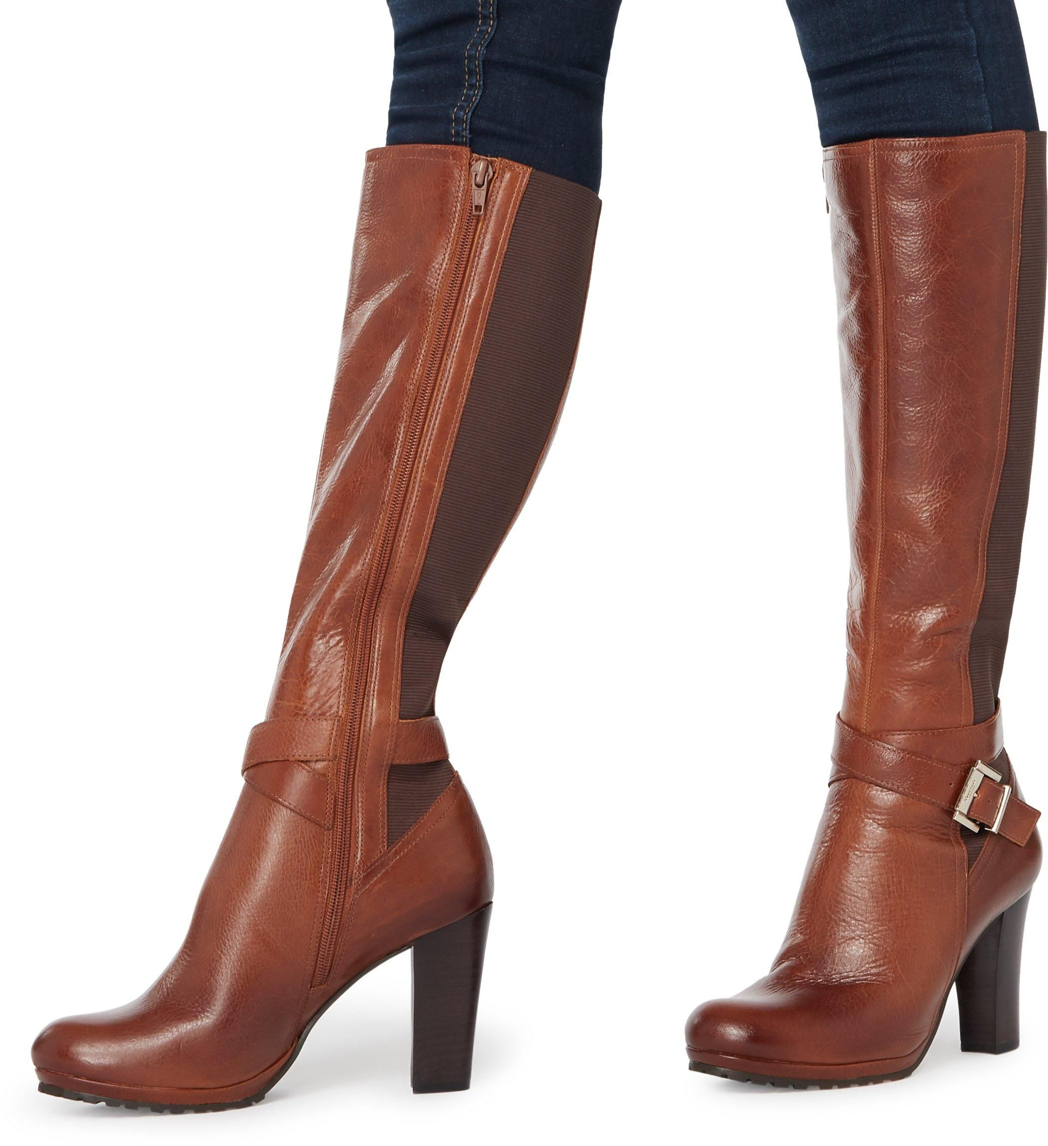 Dune Ladies SEBBY Knee High Buckle Strap Boots