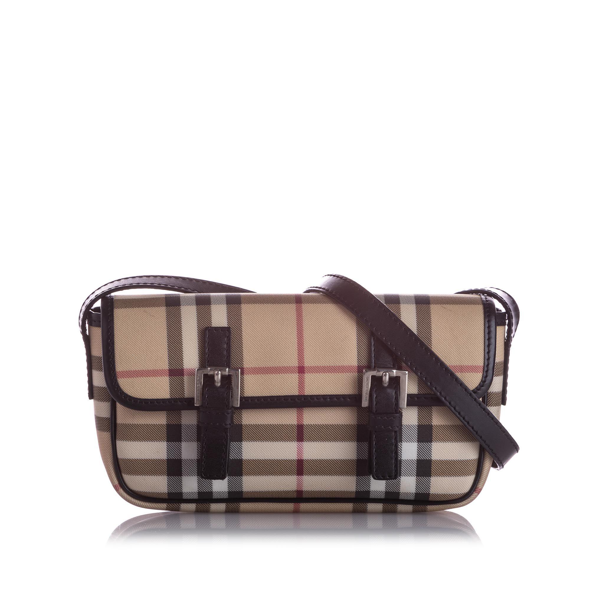 Vintage Burberry House Check Crossbody Bag Brown