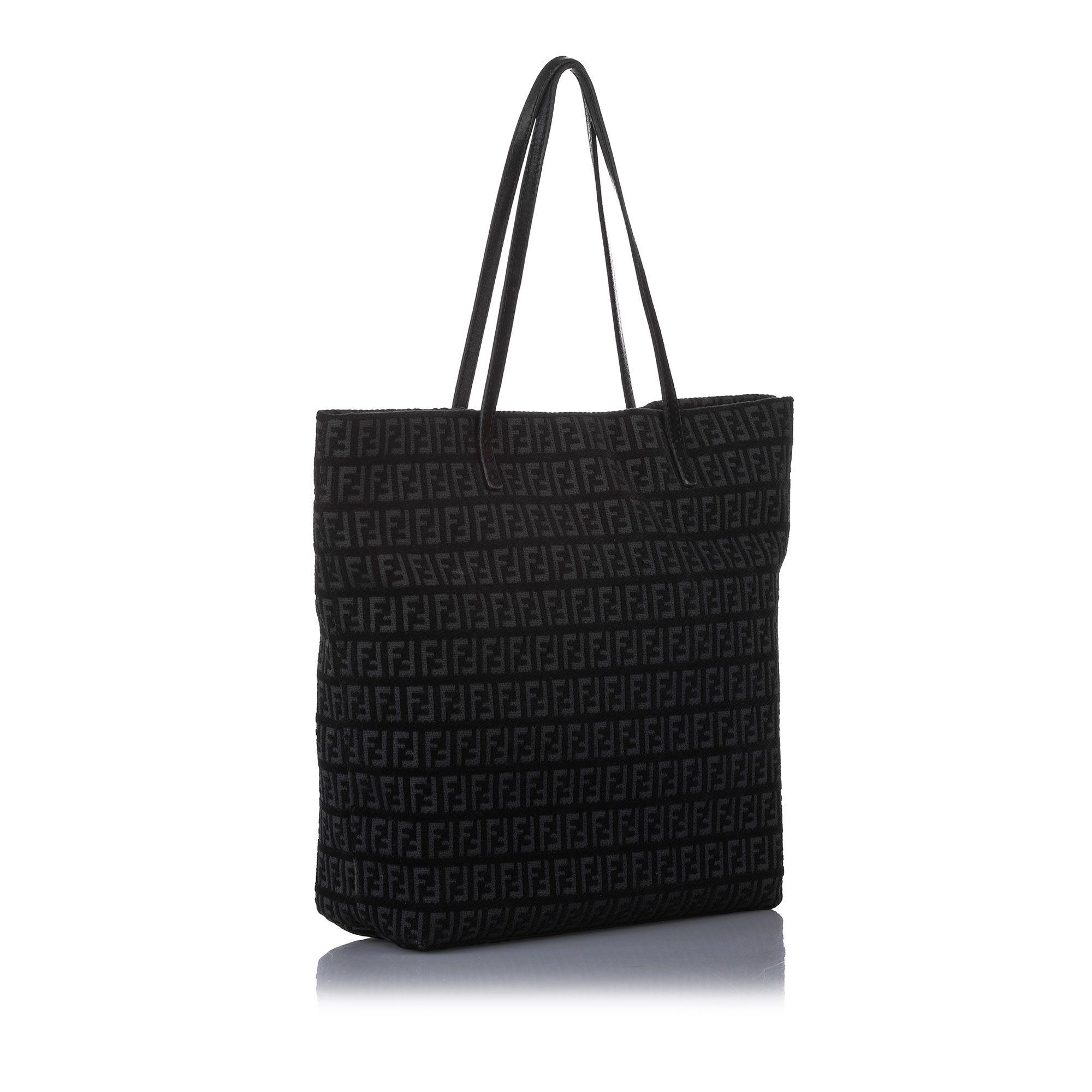 Vintage Fendi Zucchino Canvas Tote Bag Black