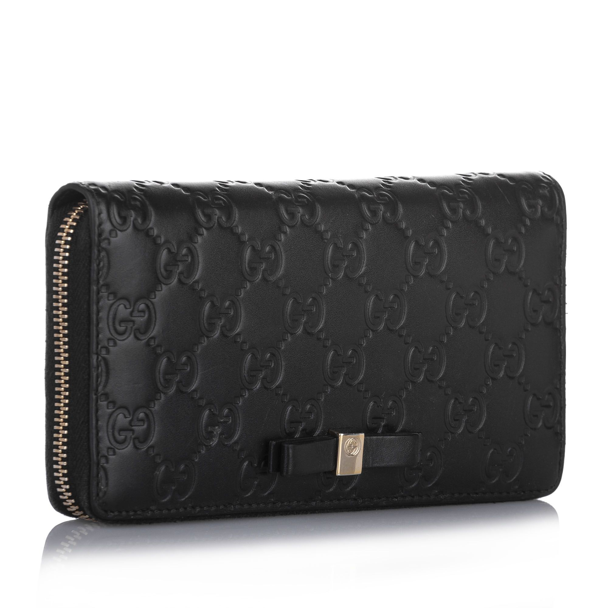 Vintage Gucci Guccissima Zip Around Long Wallet Black