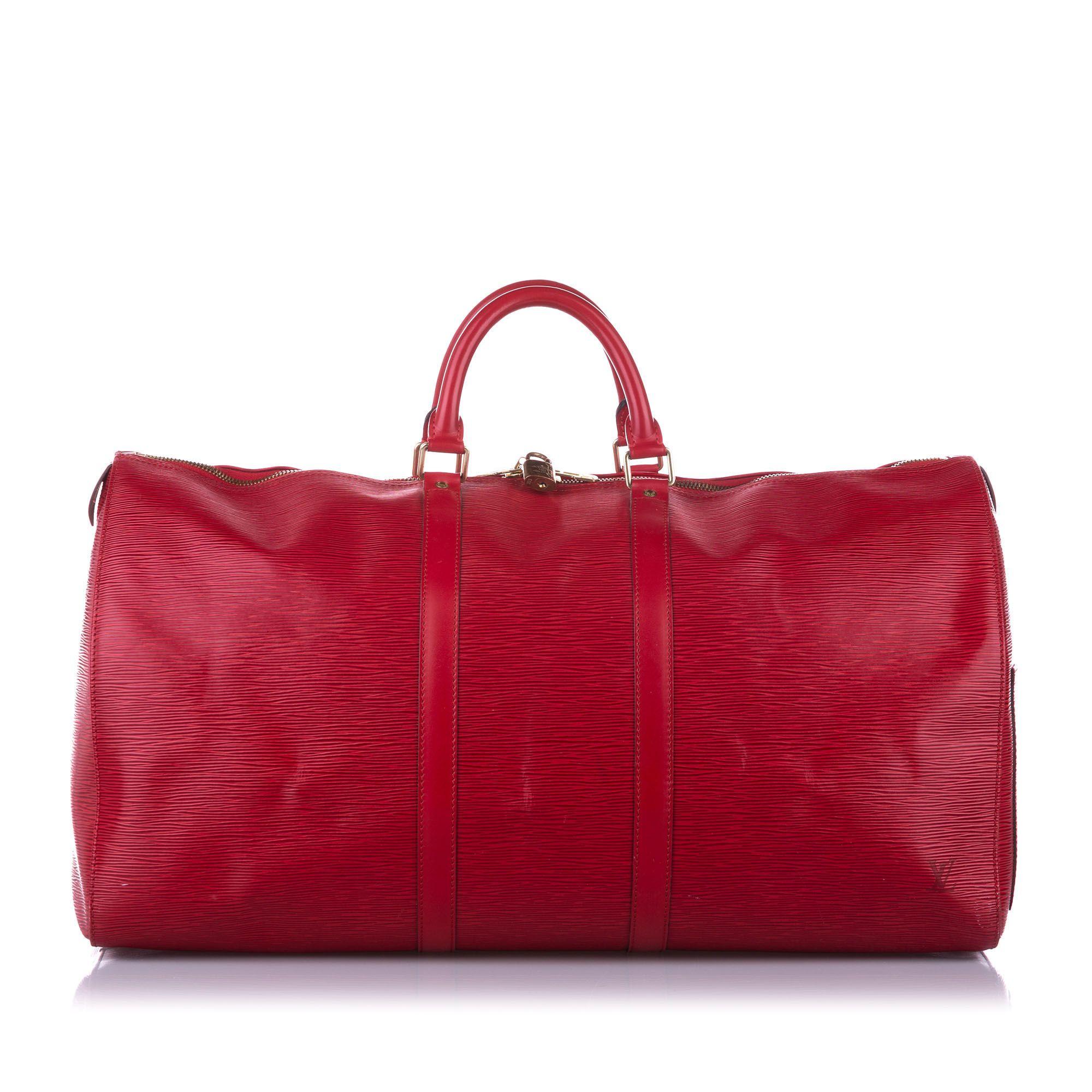 Vintage Louis Vuitton Epi Keepall 55 Red