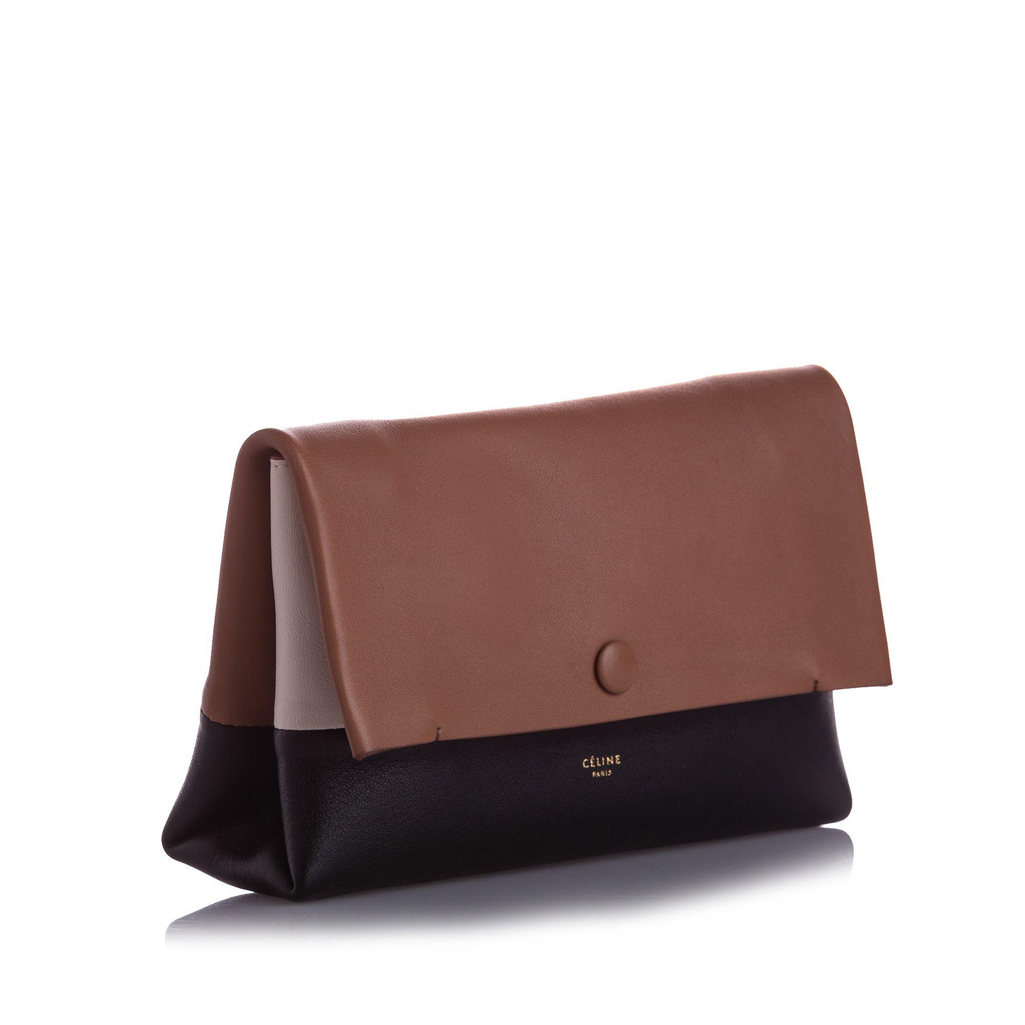 Vintage Celine All Soft Leather Clutch Bag Brown
