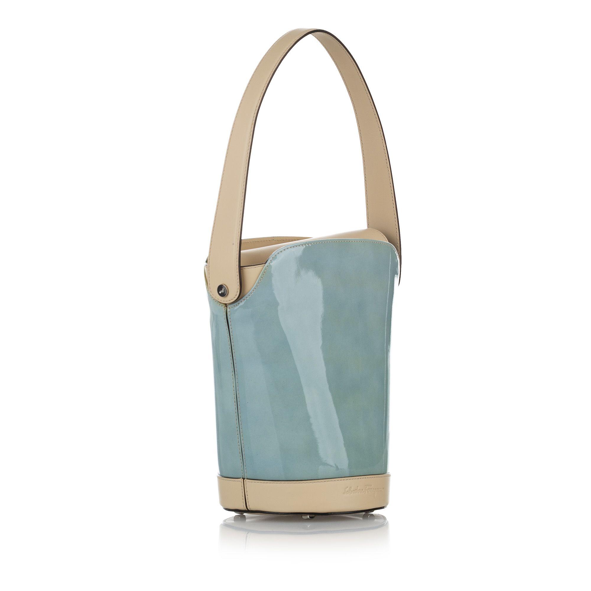 Vintage Ferragamo Patent Leather Bucket Bag Blue