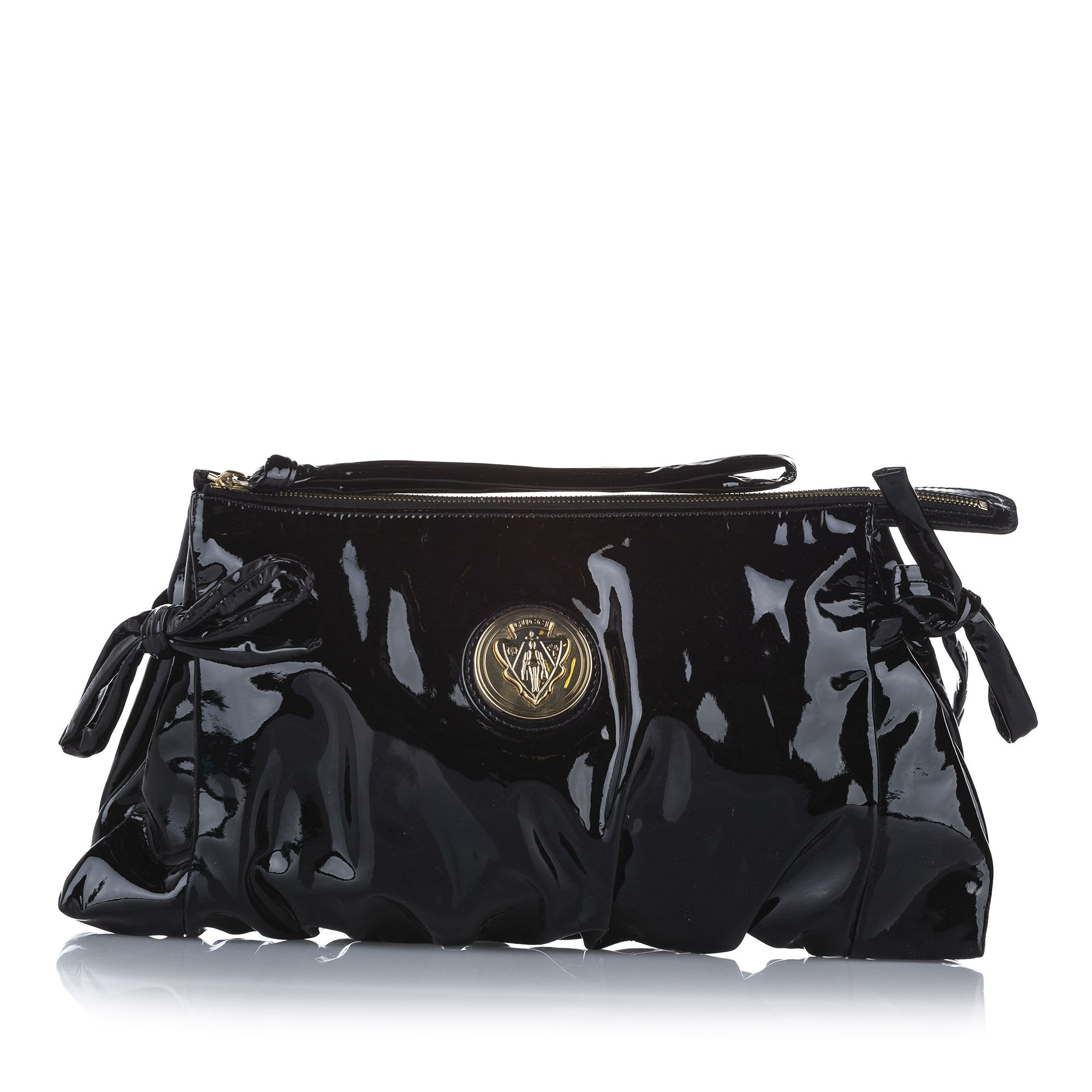 Vintage Gucci Hysteria Patent Leather Clutch Bag Black