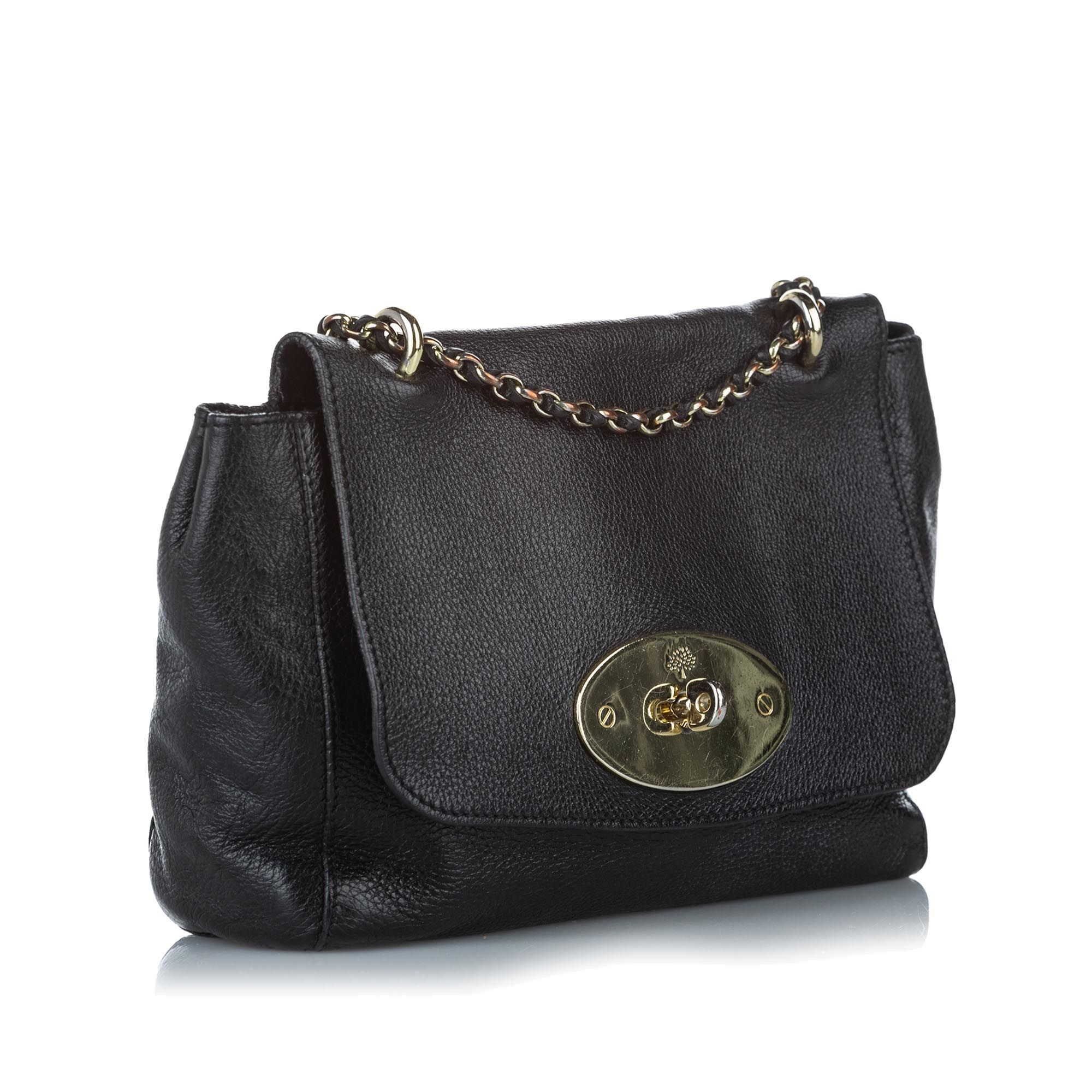 Vintage Mulberry Lily Leather Crossbody Bag Black