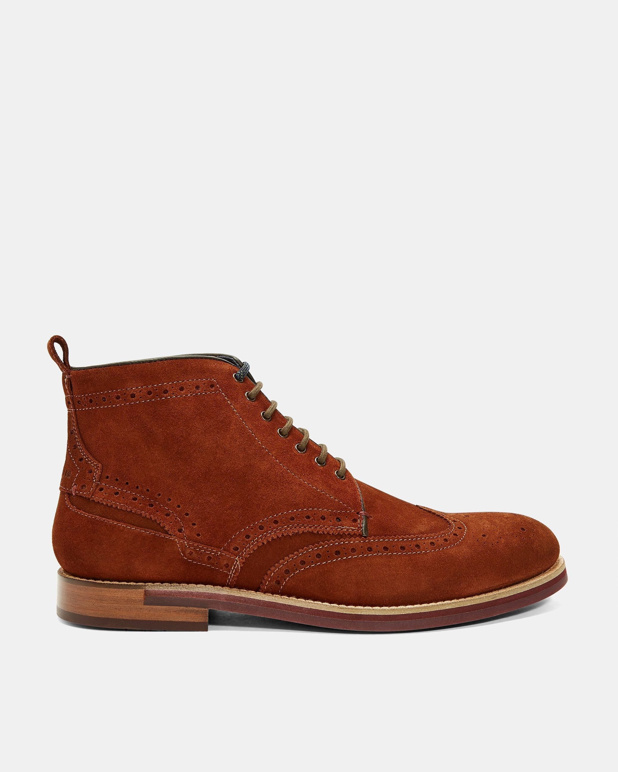 Ted Baker Shennjo Brogue Suede Ankle Boots, Tan