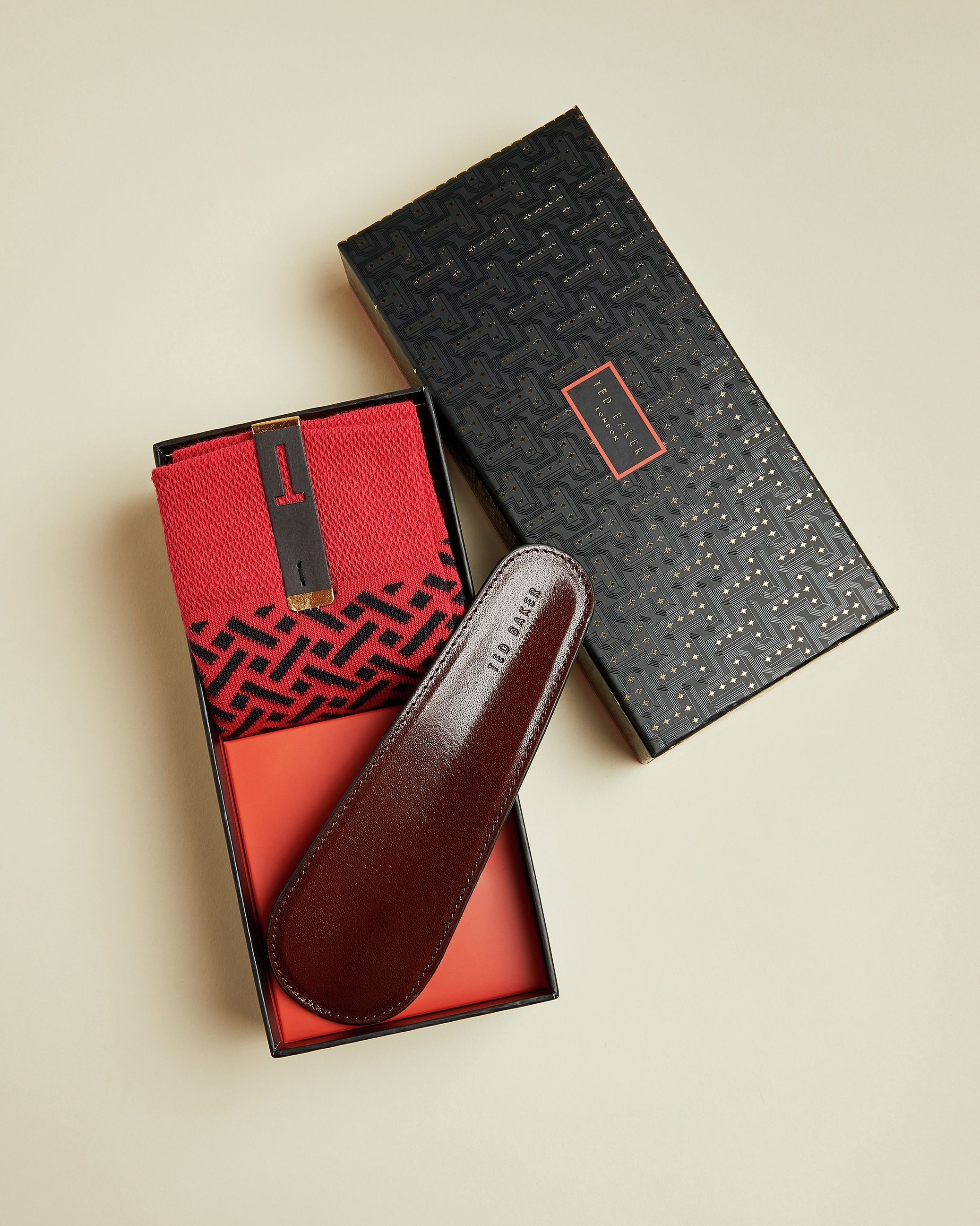 Ted Baker Shoozy Sock And Shoehorn Giftset, Tan