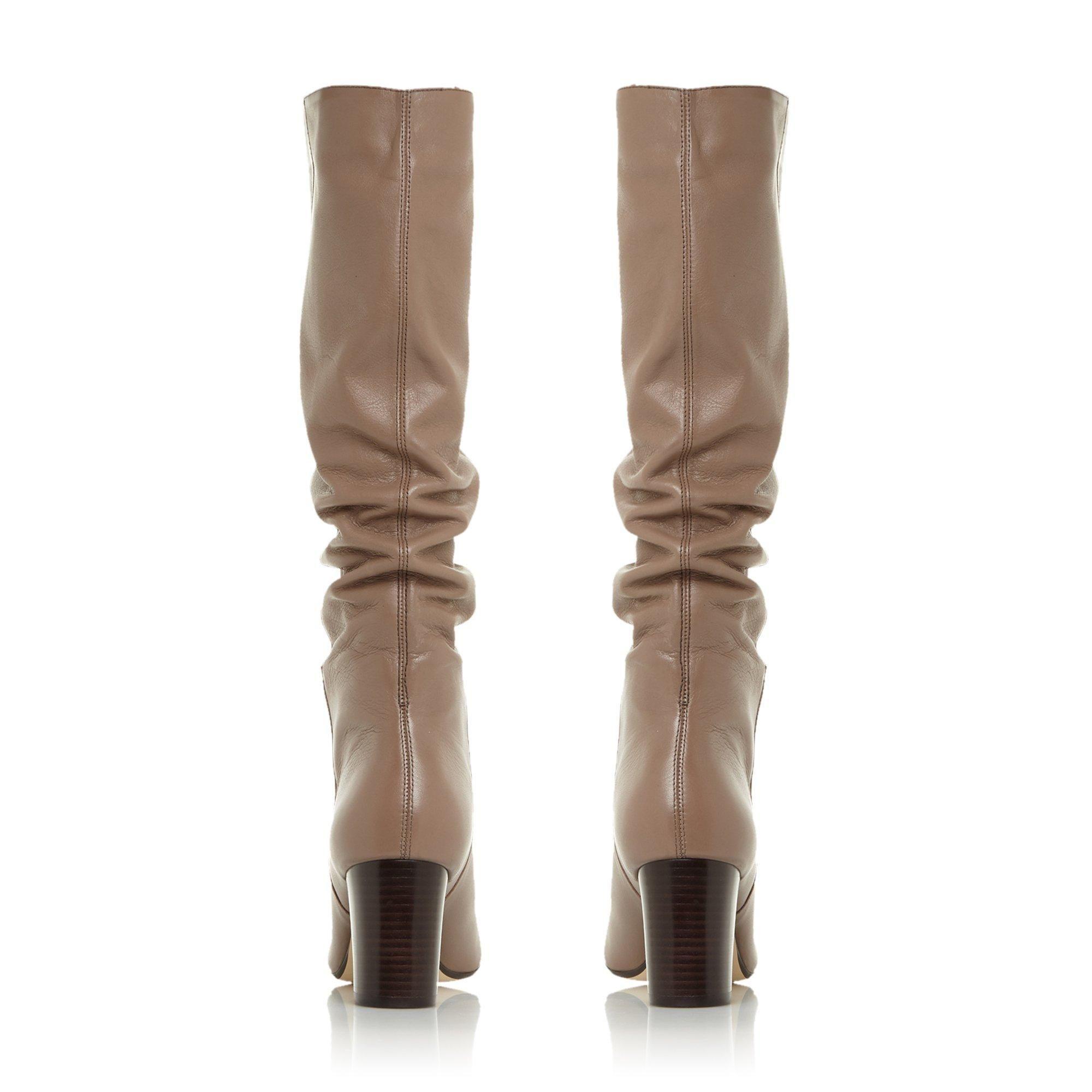 Dune Ladies SILENE Ruched Block Heel Knee High Boots