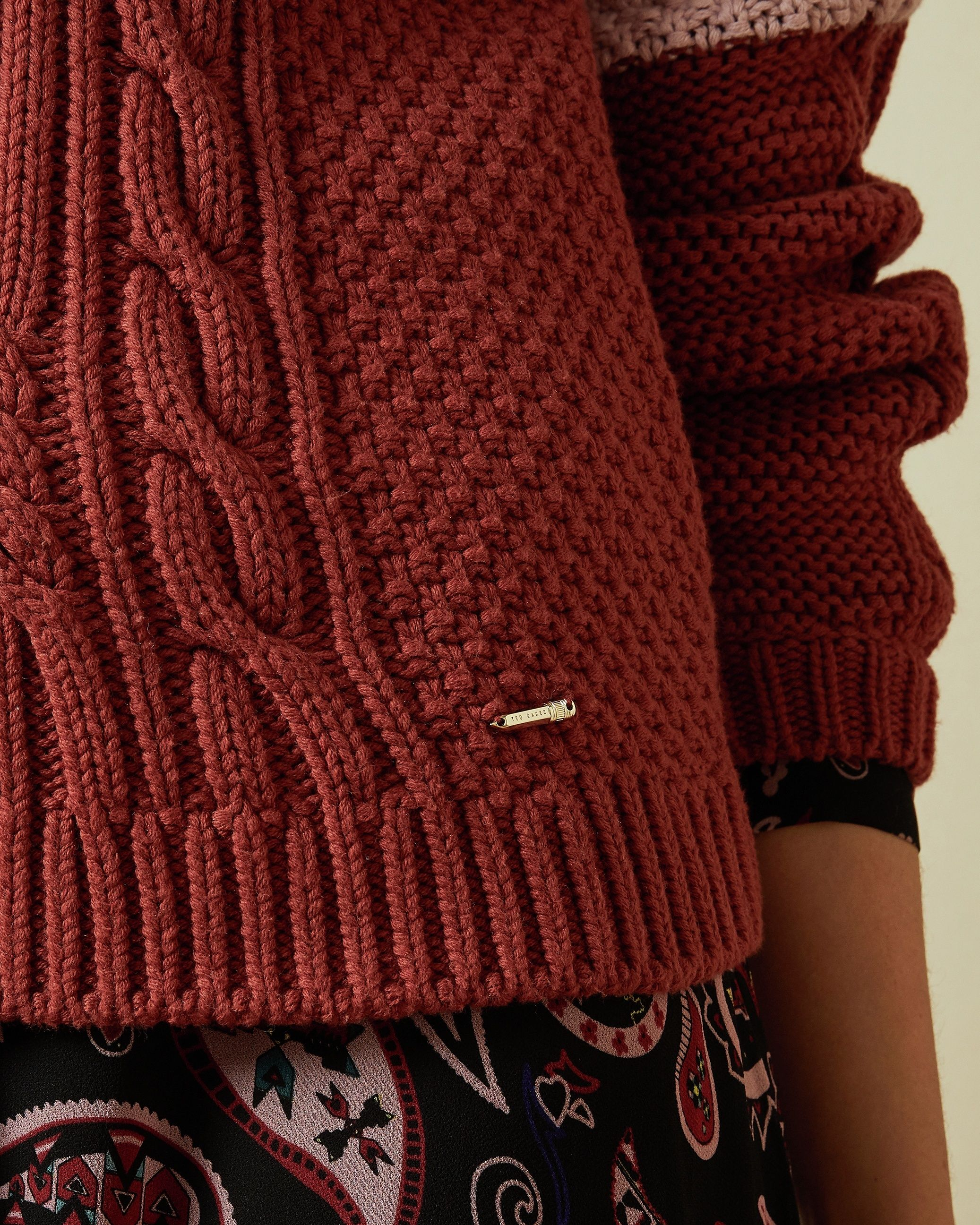 Ted Baker Slimbo Cabin Chunky Cable Knit in Pink