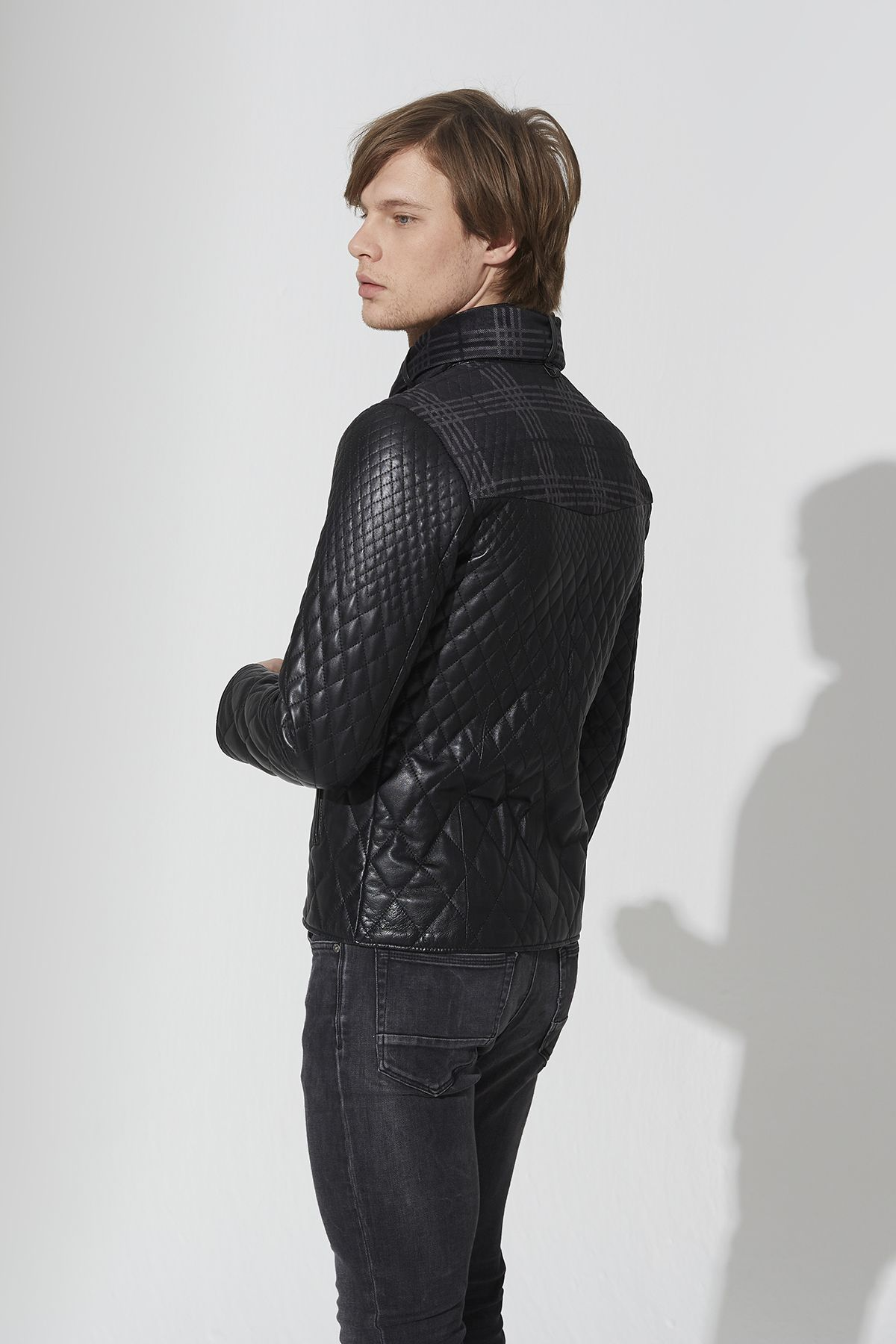 Men's Leather Criss Cross Jacket With Matching Scarf