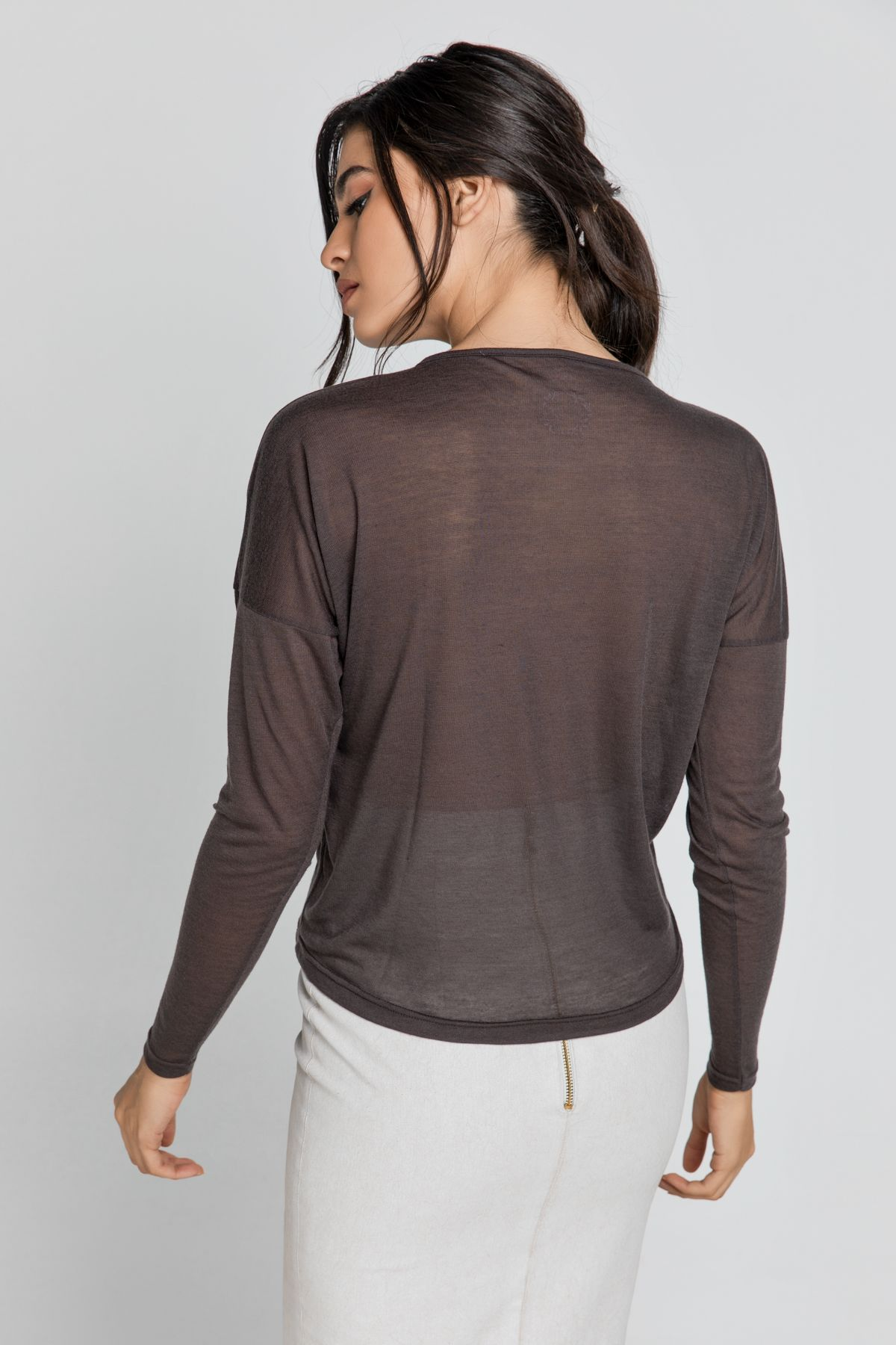 Dark Brown Top with Faux Leather Detail