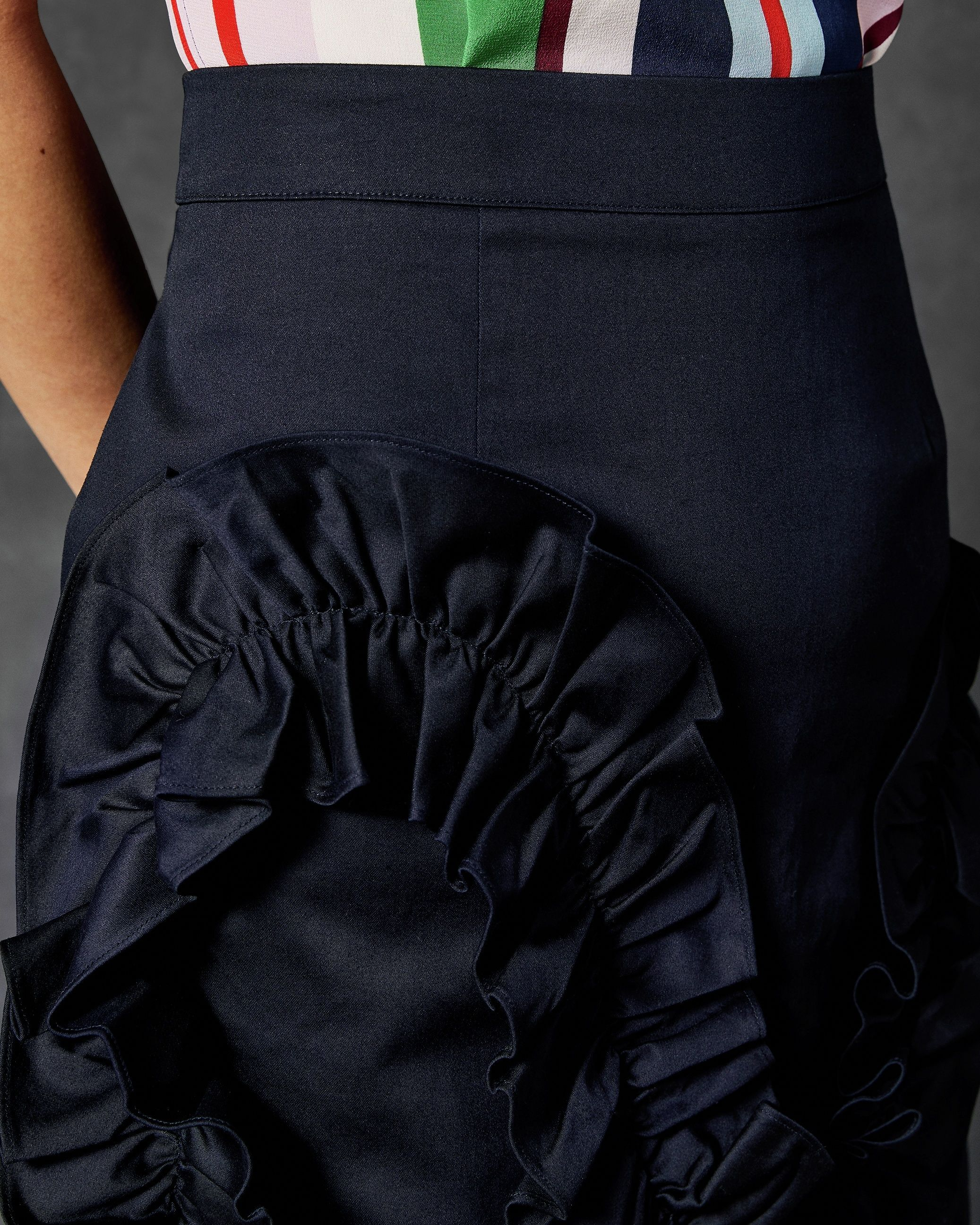 Ted Baker Suzanah Pleat Ruffle Detail Mini Skirt in Navy