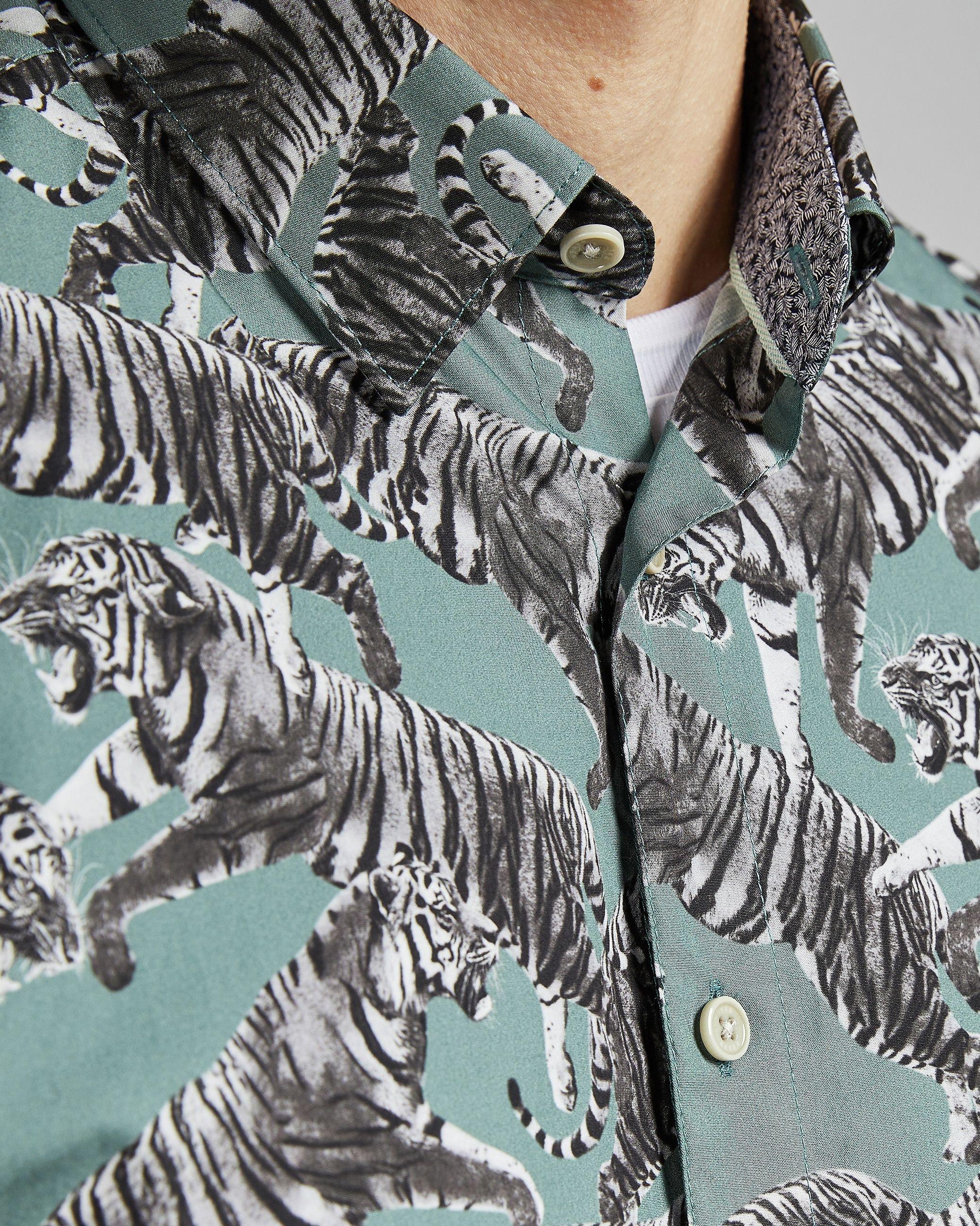 Ted Baker Swarm Short-Sleeved Tiger Print Shirt, Green