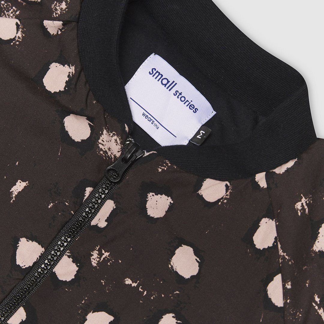 Brown painted dot zip bomber