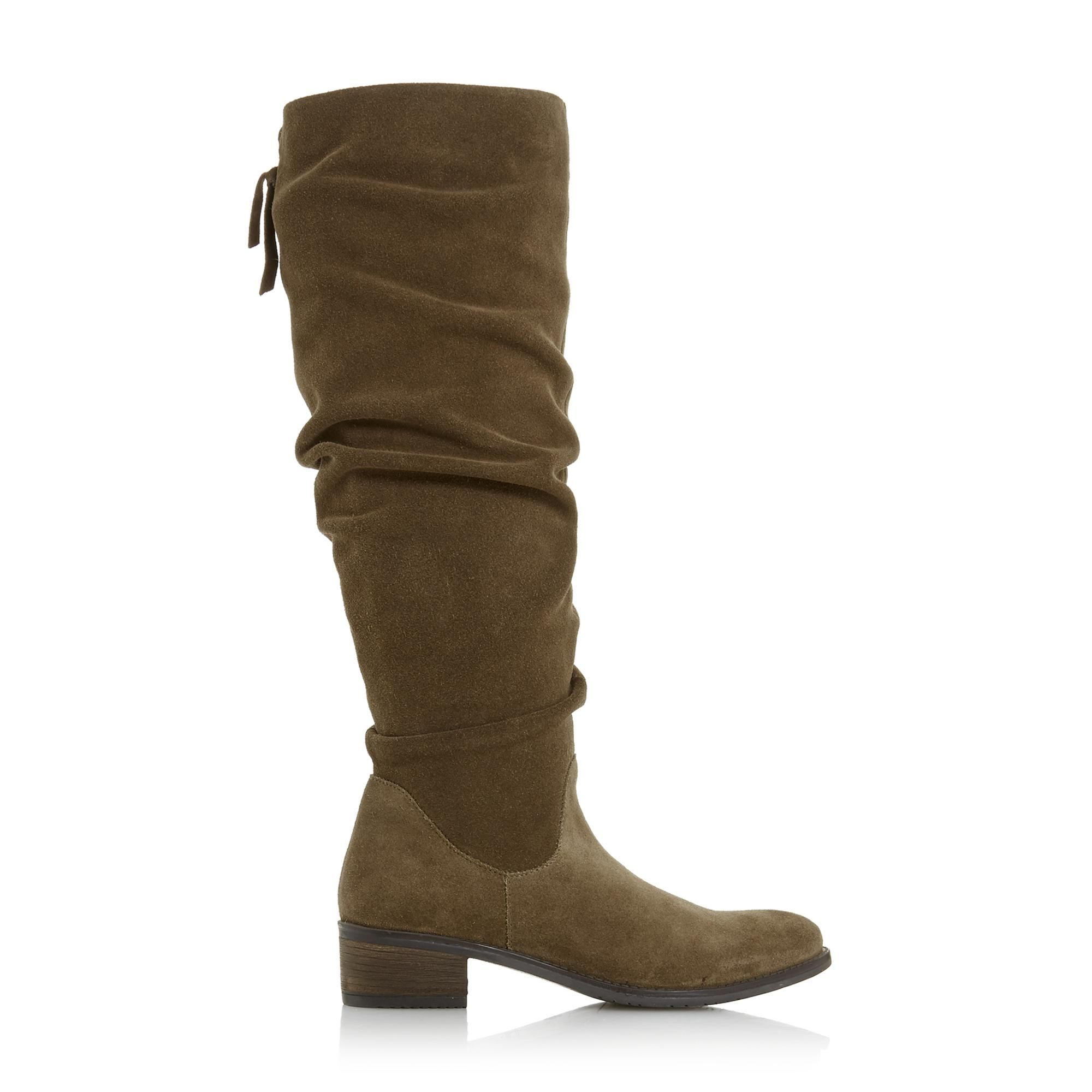 Dune Ladies TABATHA Ruched Flat Knee High Boots