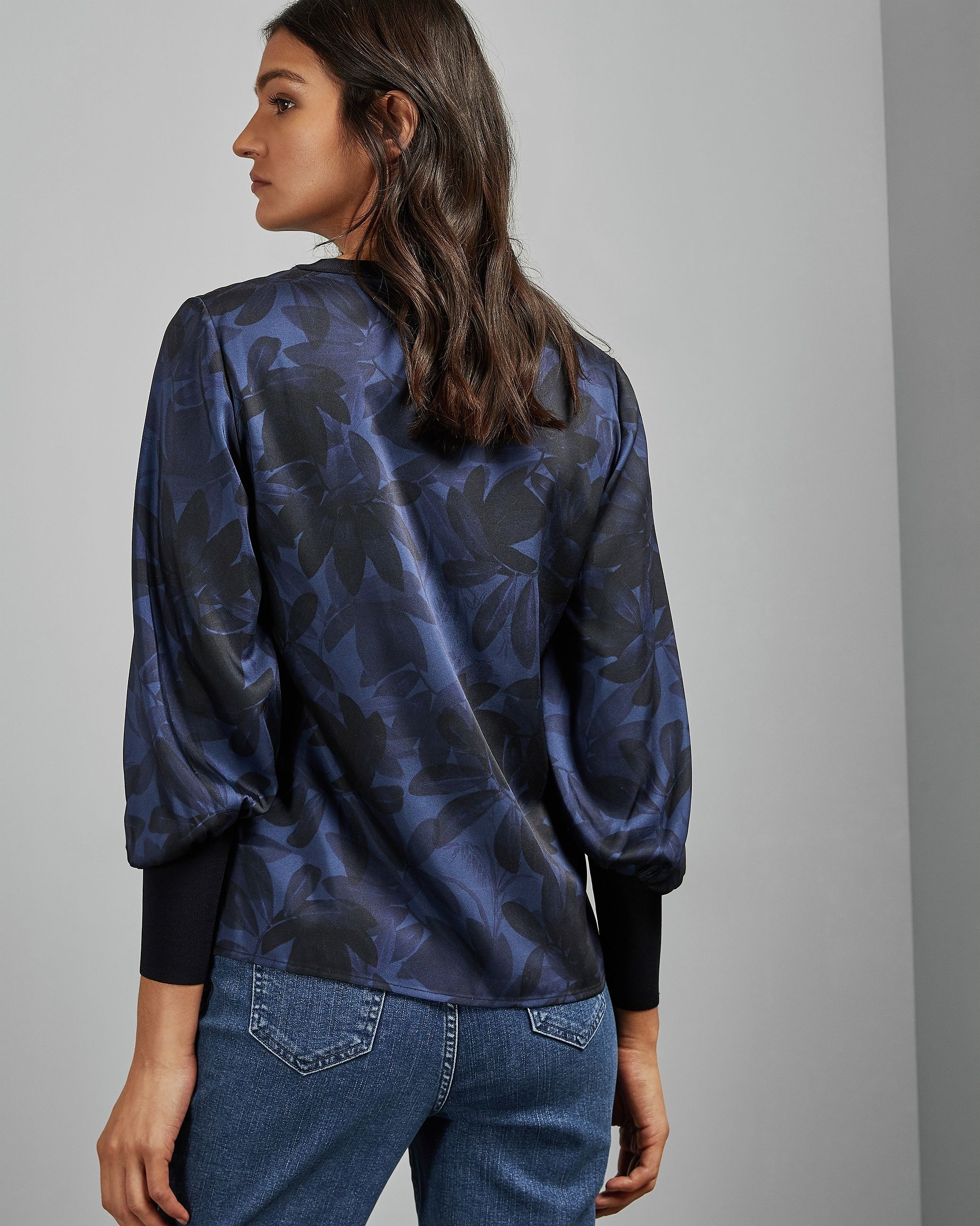 Ted Baker Taliyer Woven Long Sleeved Top, Navy