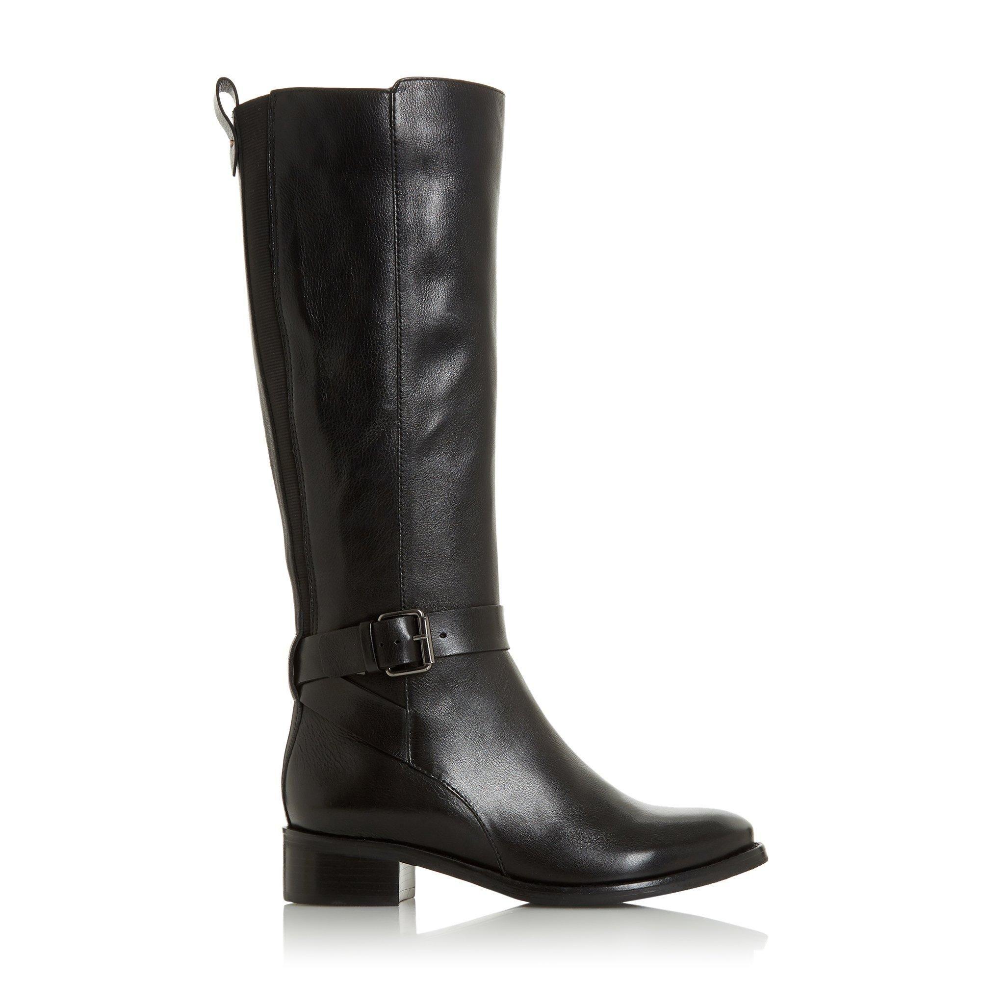 Bertie Ladies TAYKONIE Side Buckle Low Heel High Leg Boots