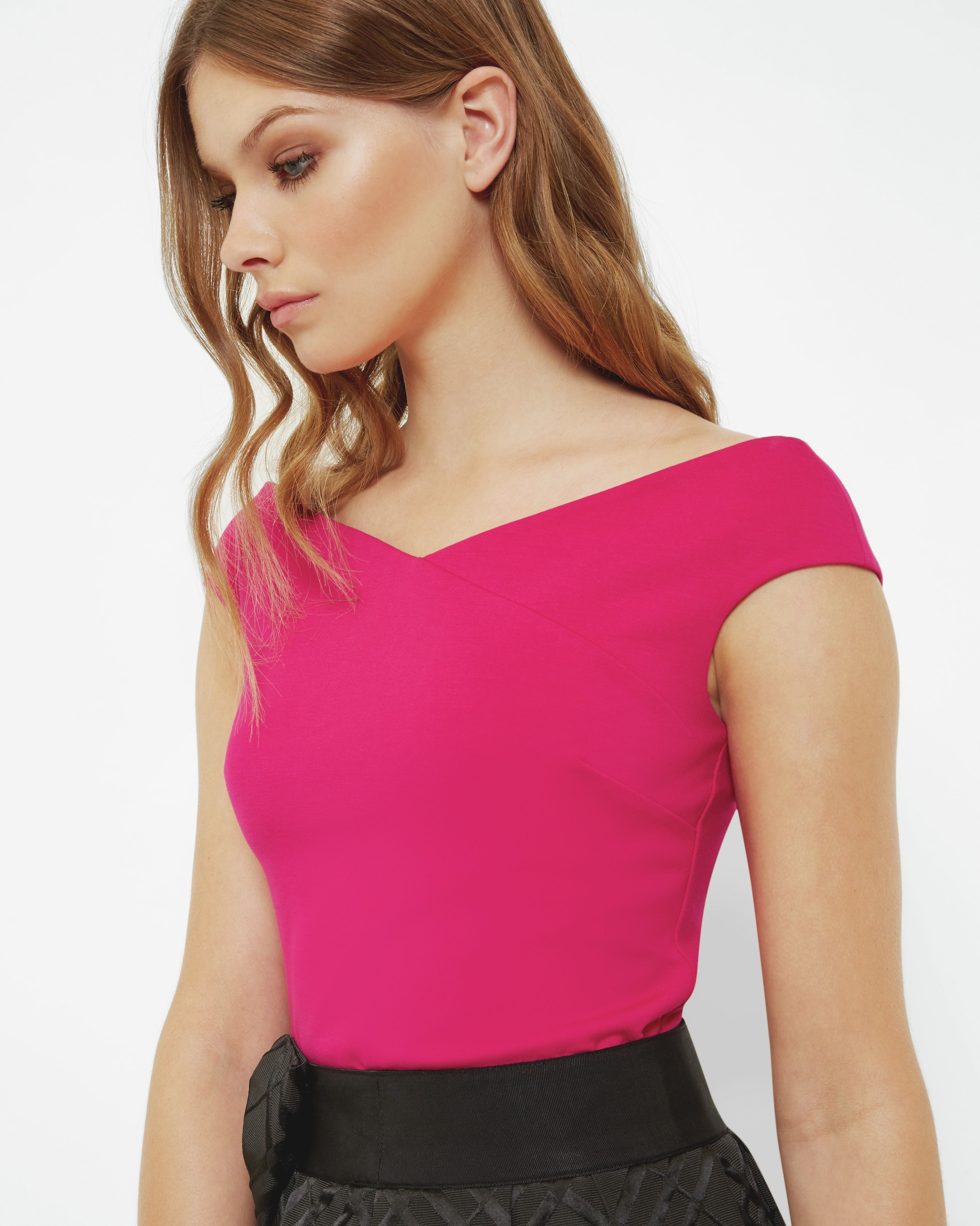 Ted Baker Teimah Cropped Bardot Top, Bright Pink