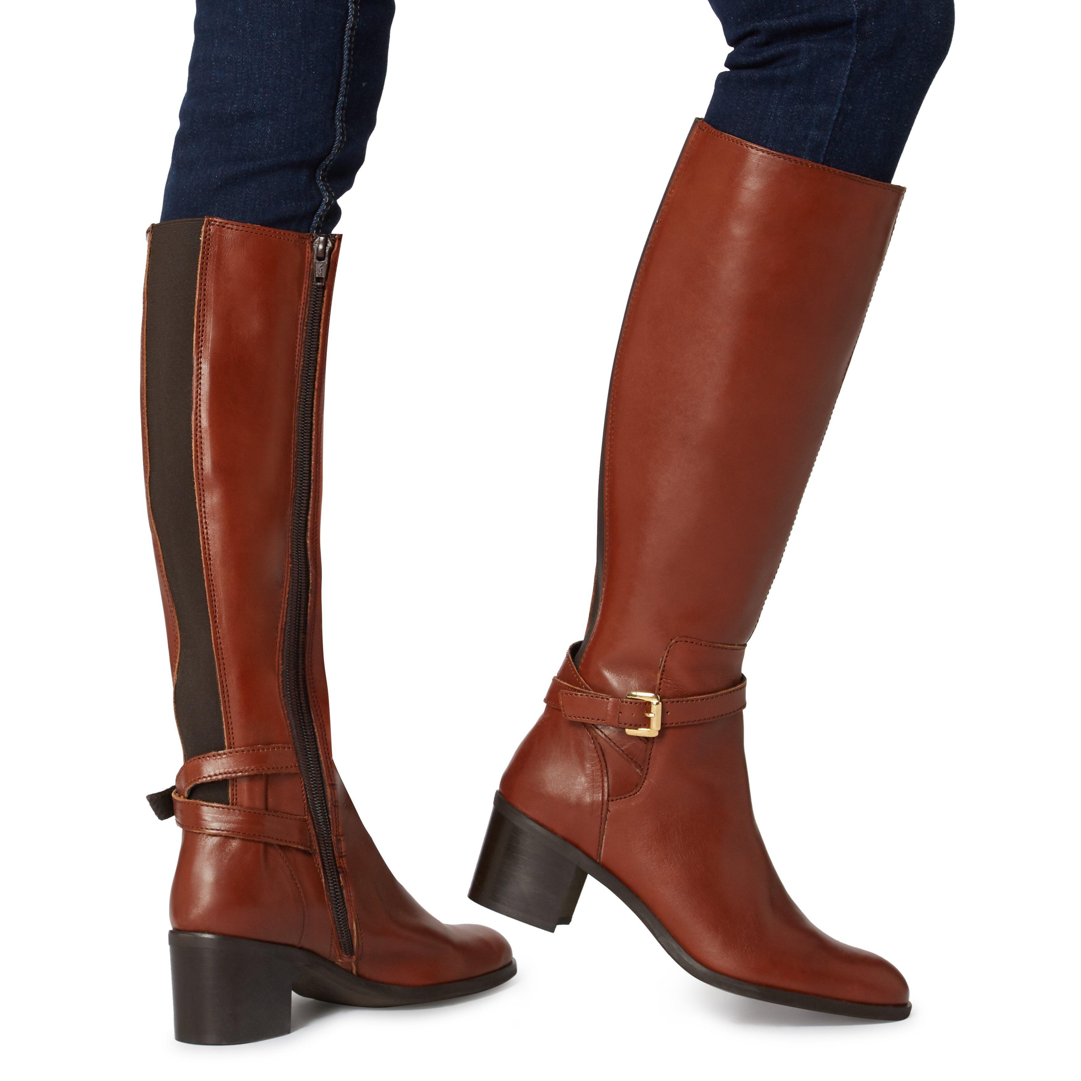 Dune Ladies TEMPLE Multi Strap Mid Block Heel Knee High Boots