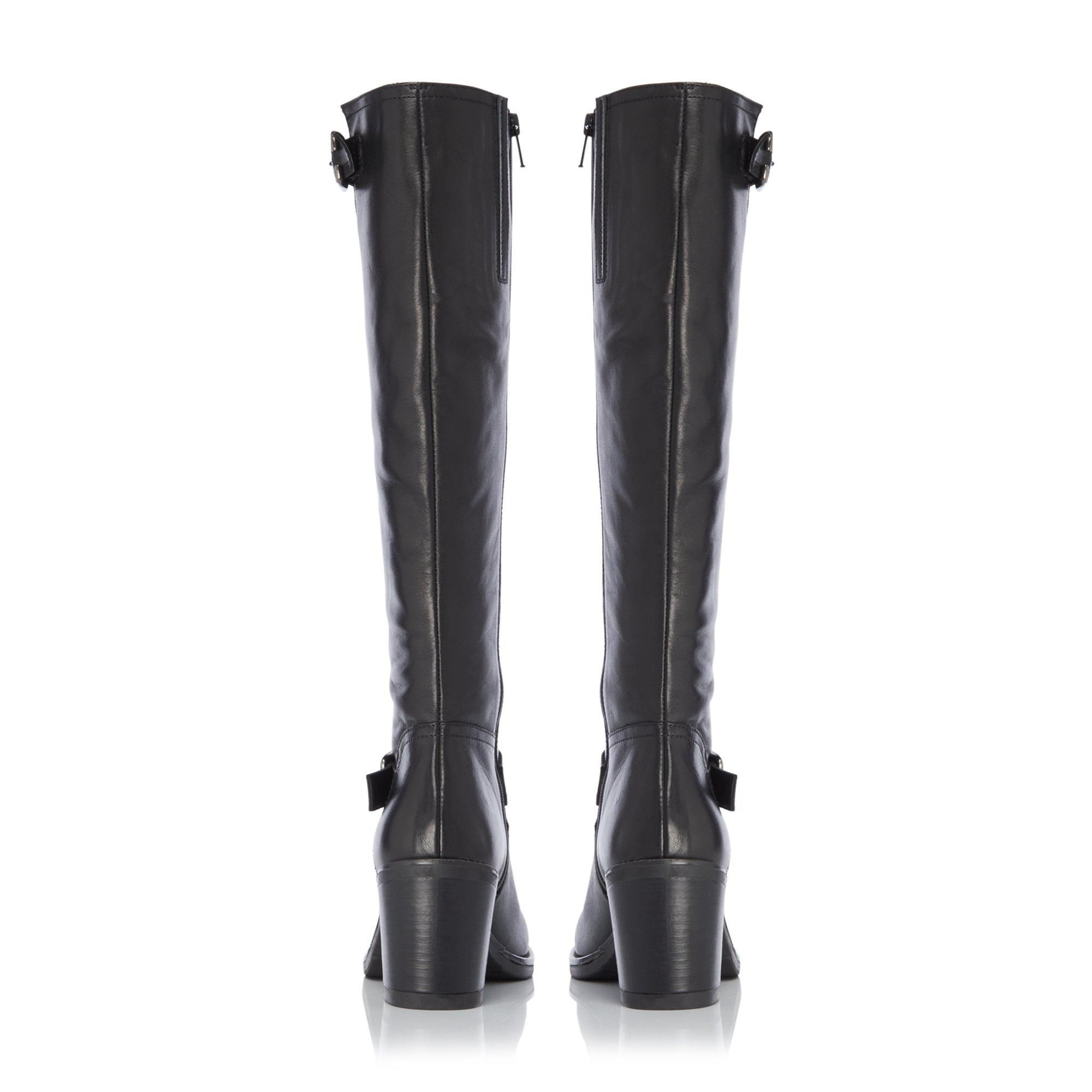 Dune Ladies TRELIS Double Buckle Block Heel Knee High Boots