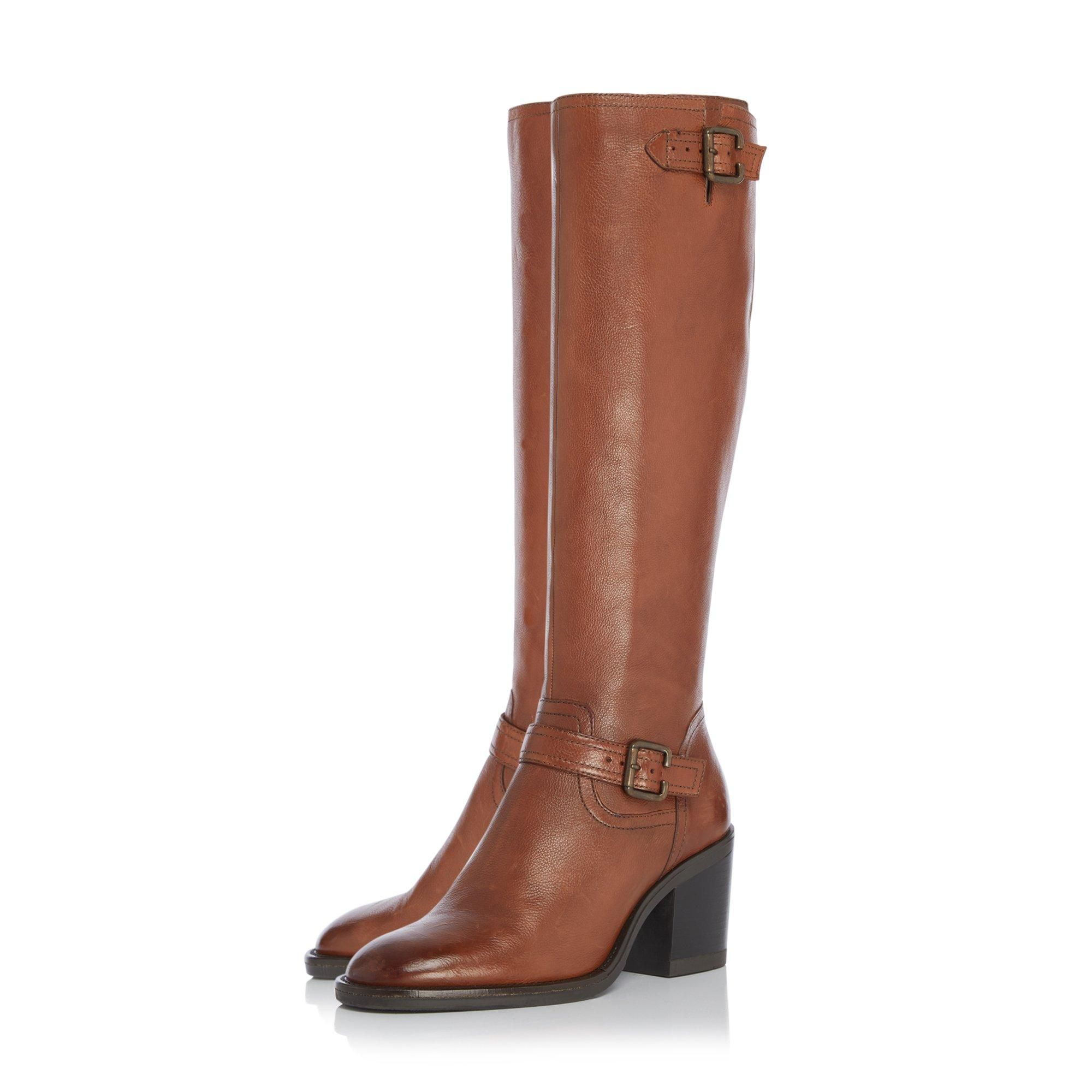 Dune Ladies TRELIS Double Buckle Block Heel Knee High Boots