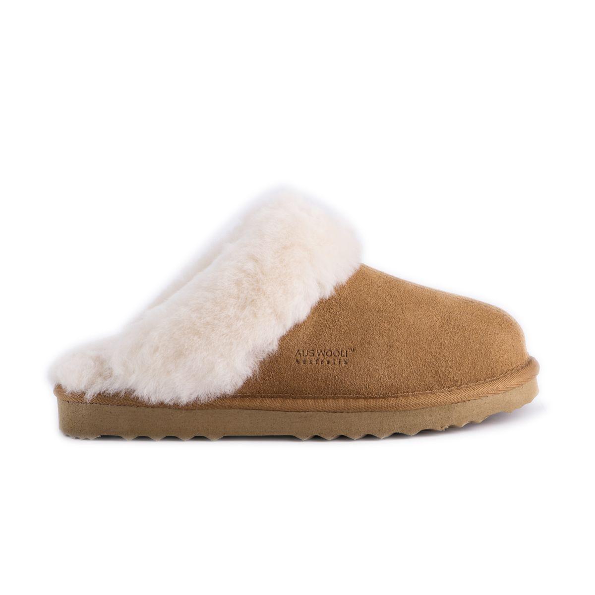 "Aus Wooli ""Sydney"" Australia Sheepskin Wool Slippers, Tan"
