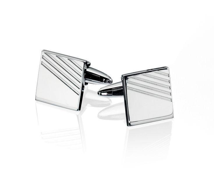 Fred Bennett Mens Stainless Steel Ribbed Detail Square Cufflinks