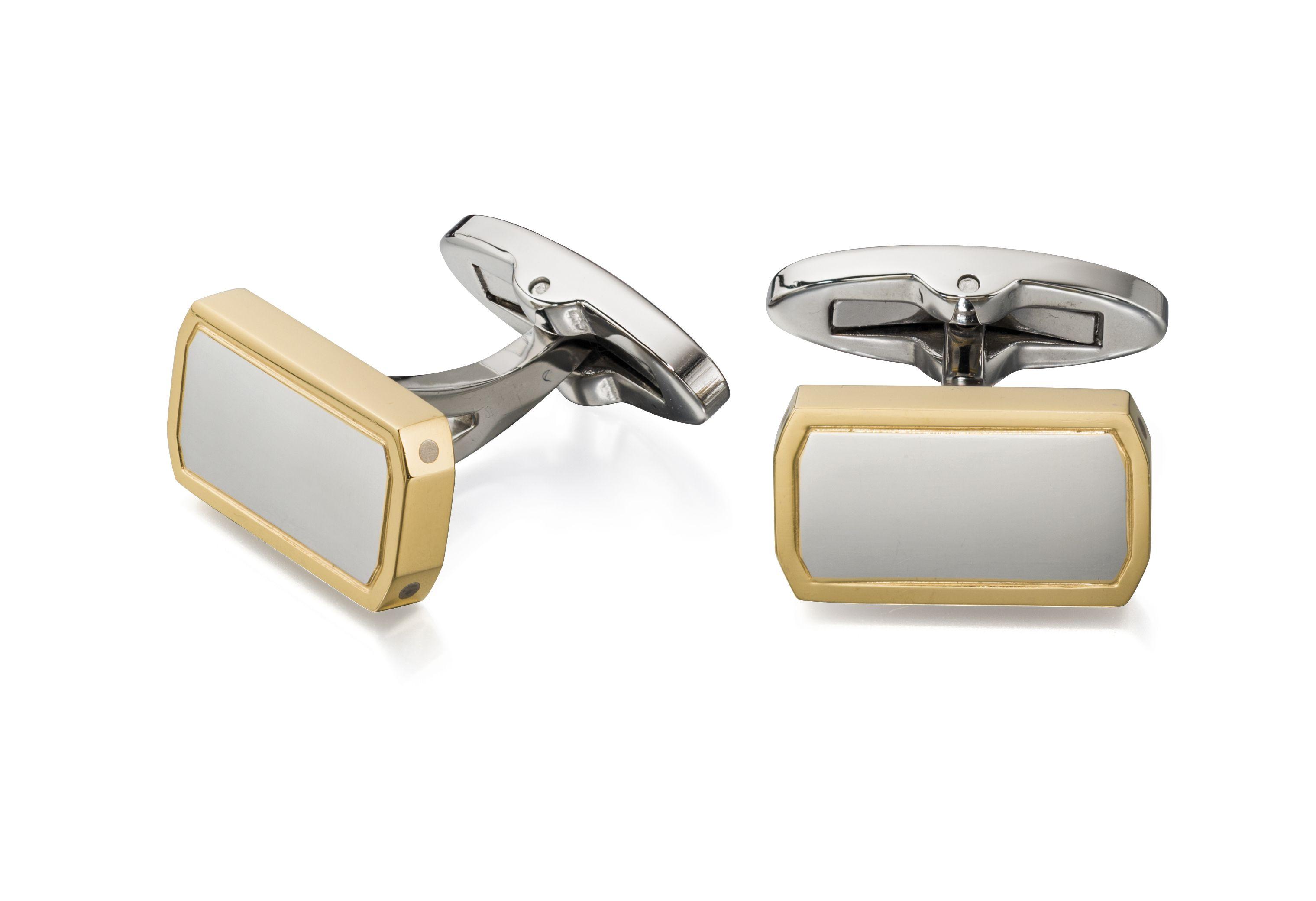 Fred Bennett Mens Stainless Steel & Gold PVD Plate Octagonal Cufflinks