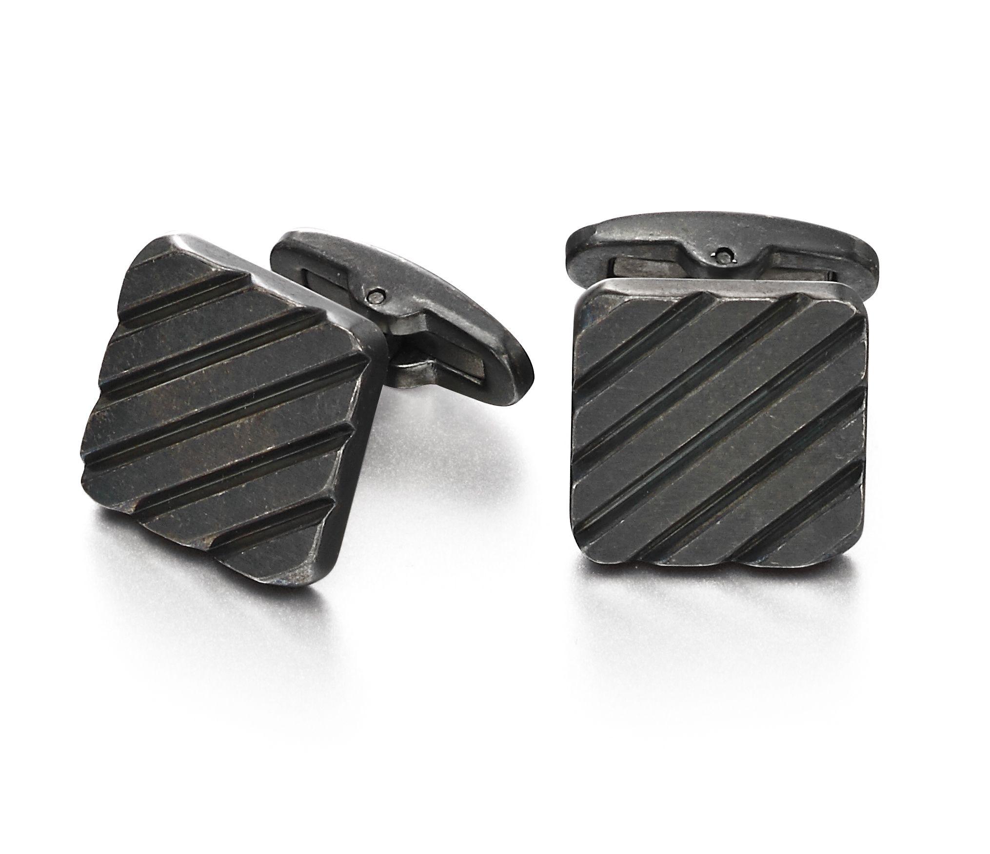 Fred Bennett Mens Stainless Steel 'Antique Grey' Diagonal Rib Square Cufflinks V533
