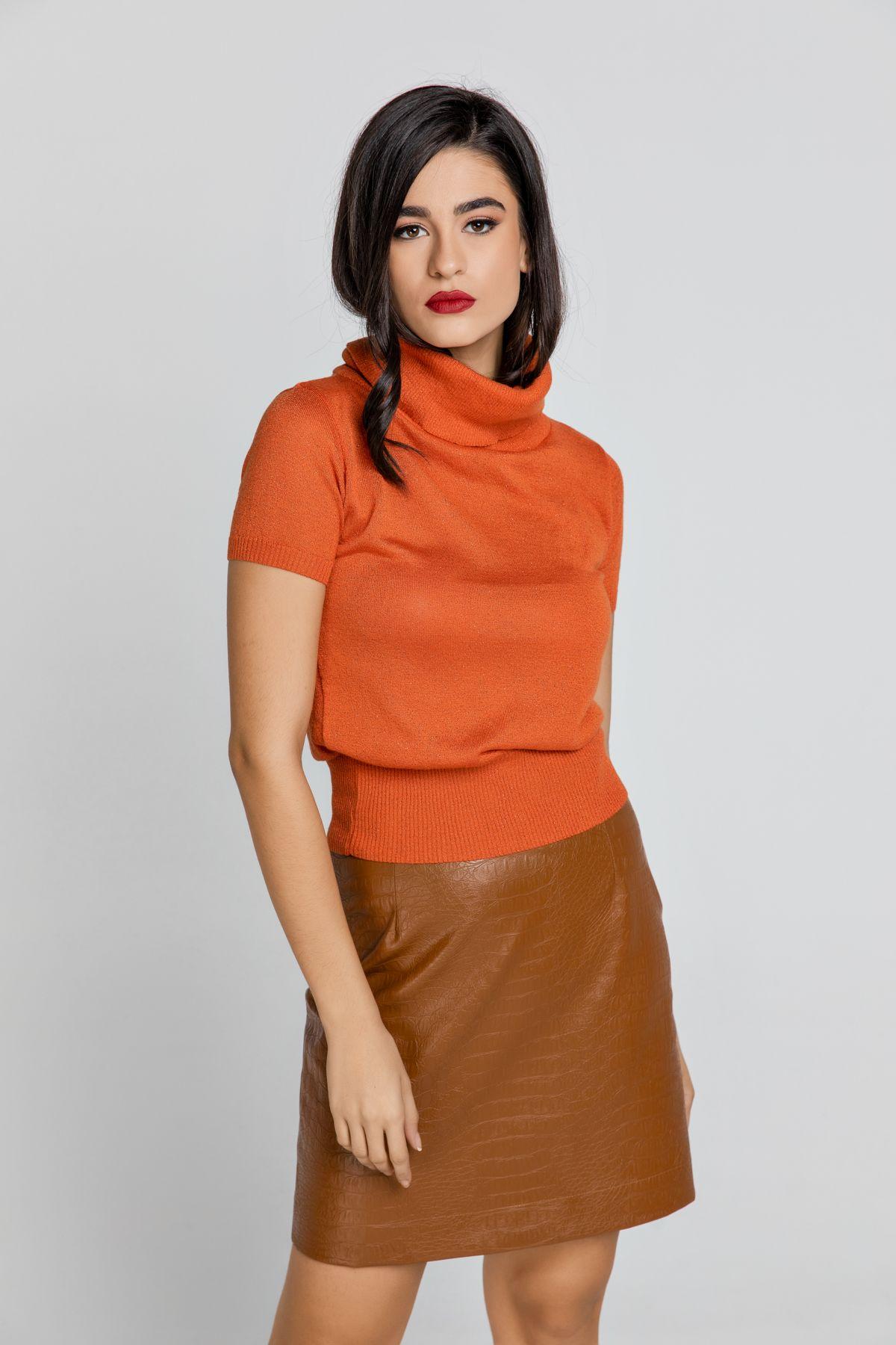 Orange Short Sleeve Lurex Top