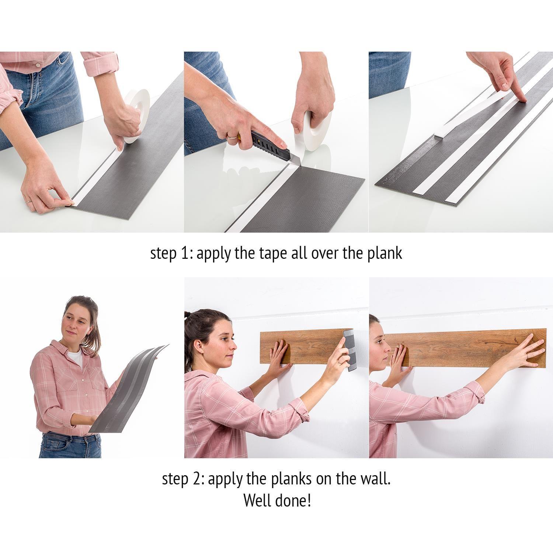 Saddle Brown Wood Look Planks Natural Oak Wall Paper, Wall Panel, Wall Paper Living Room, Wall Paper Self-Adhesive