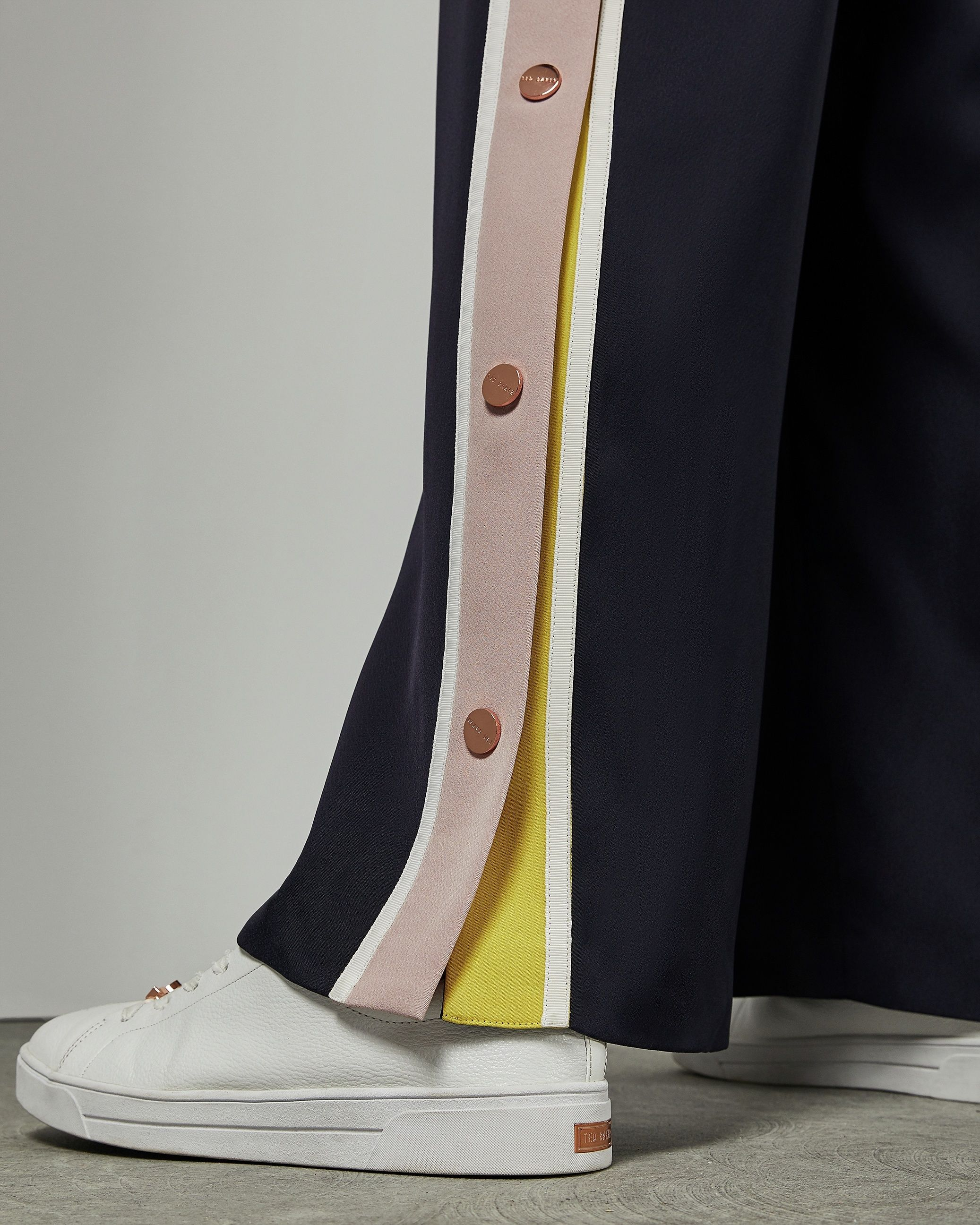 Ted Baker Wahnona Wide Leg Side Popper Trouser in Blue