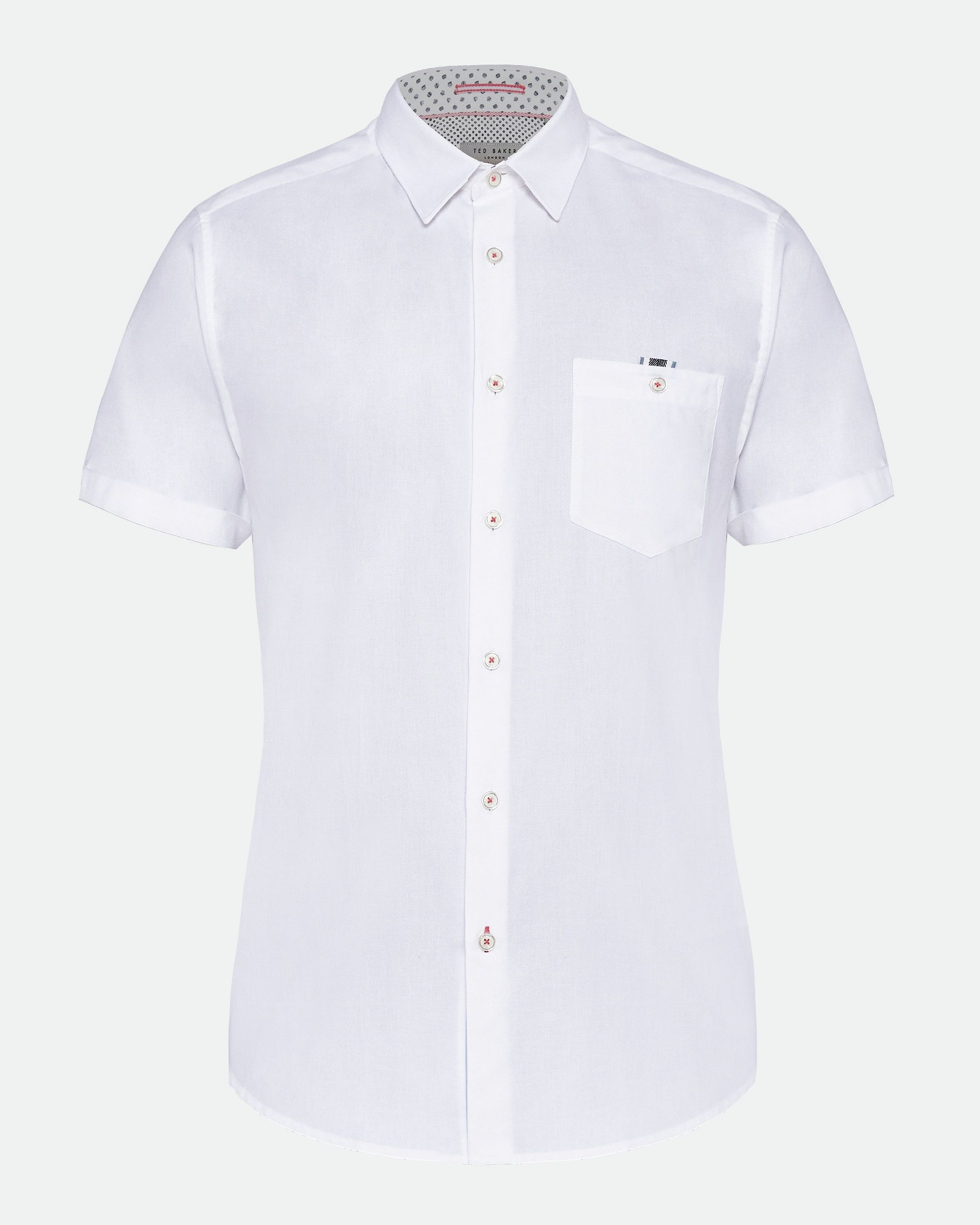 Ted Baker Wallooo Short-Sleeved Oxford With Stripe, White
