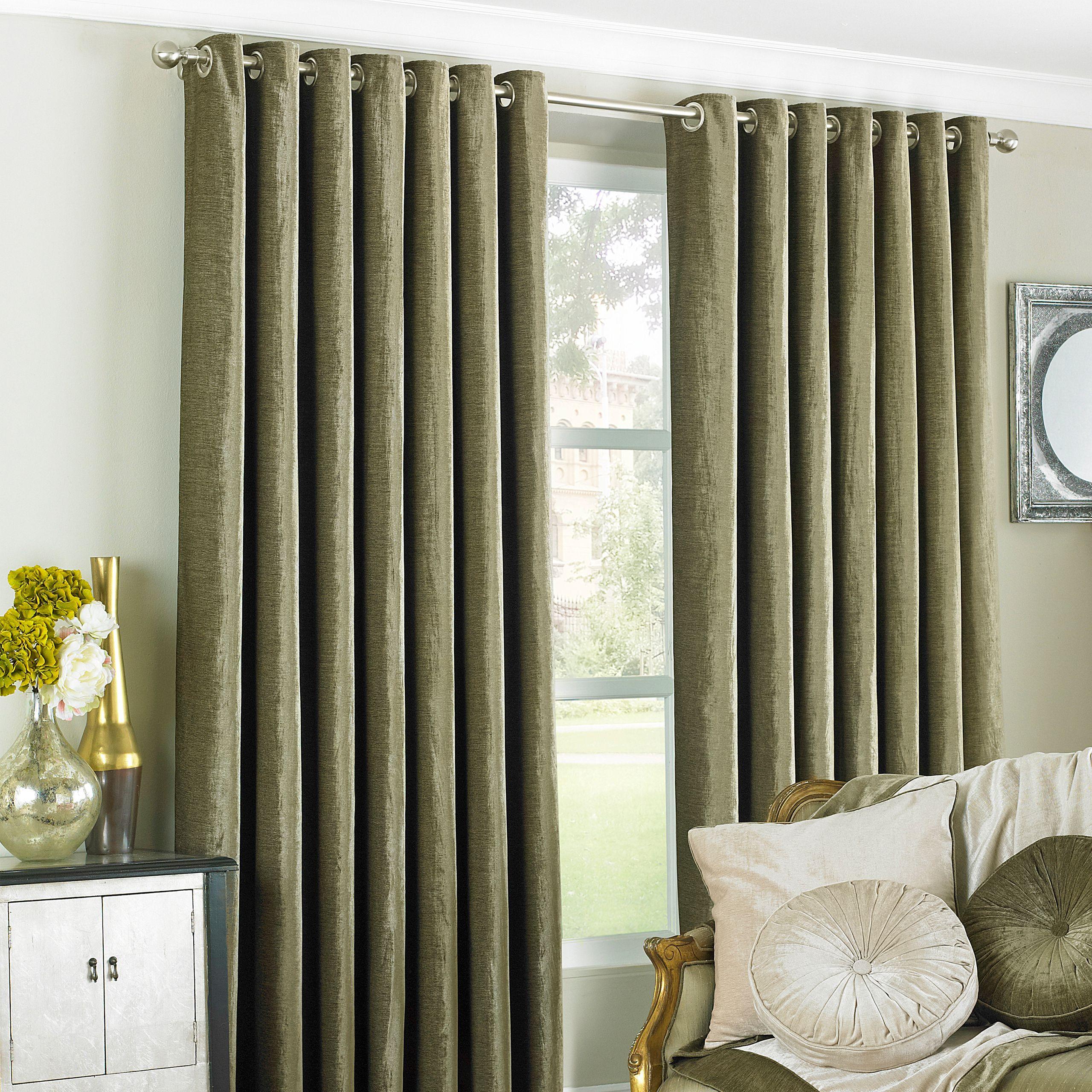 Wellesley Velvet Feel Eyelet Curtains in Mocha
