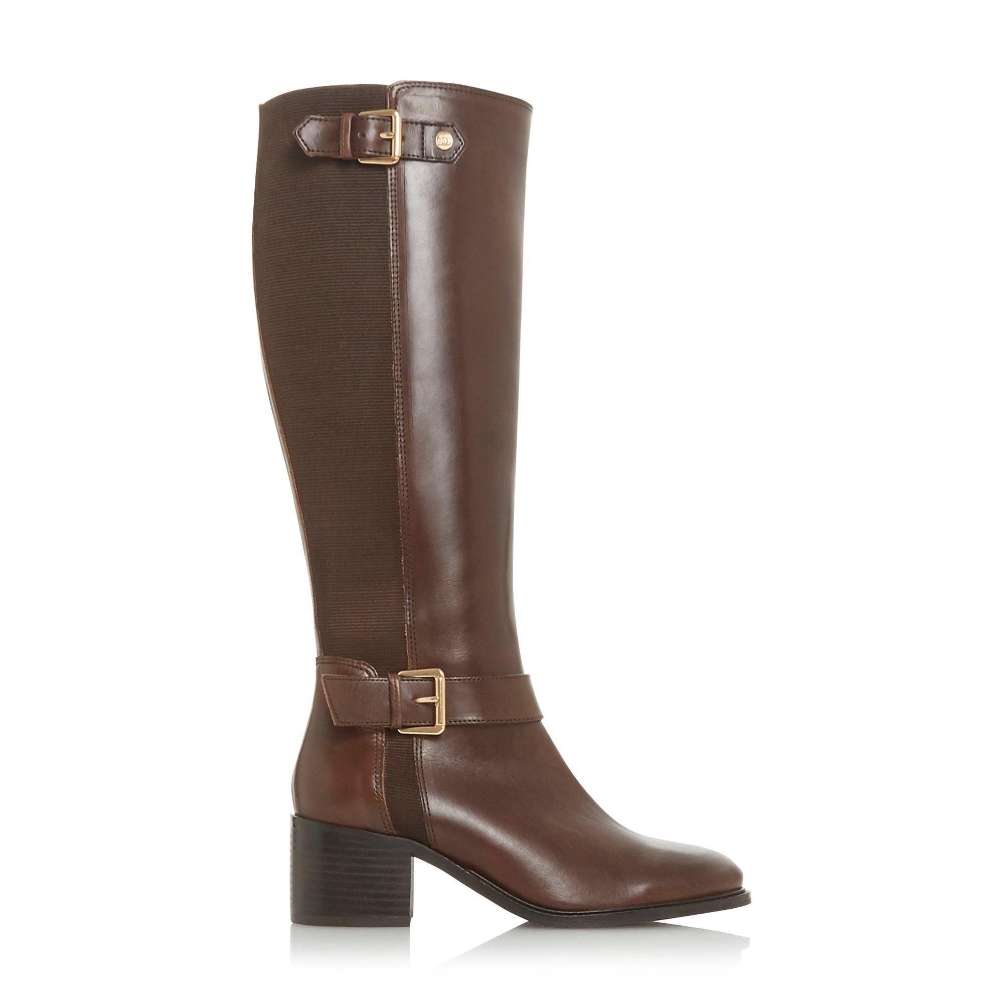 Dune Ladies WF TILDAA Wide Fit Block Heel Knee High Boots