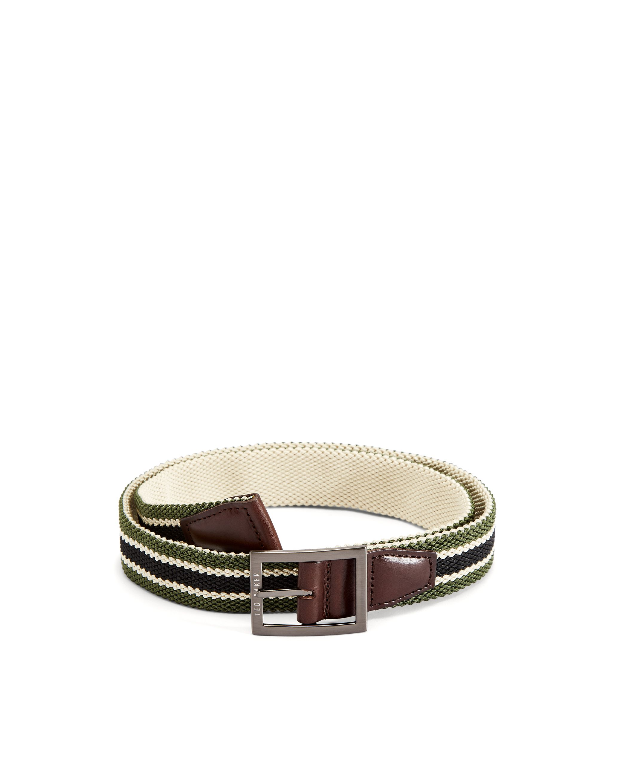 Ted Baker Greep Reversible Elastic Belt, Olive