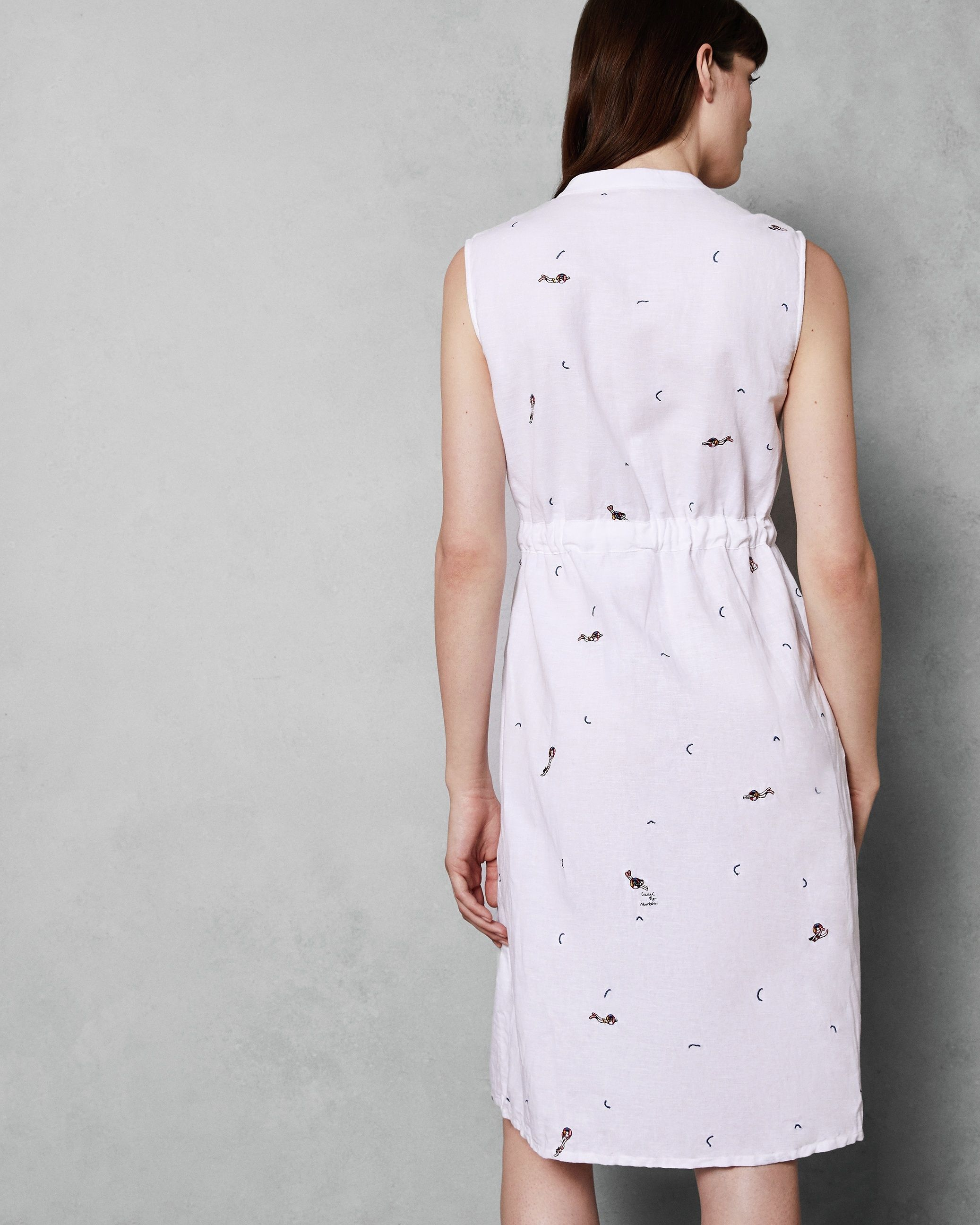 Ted Baker Xxena Embroidered Swimmers Shirt Dress in Ivory