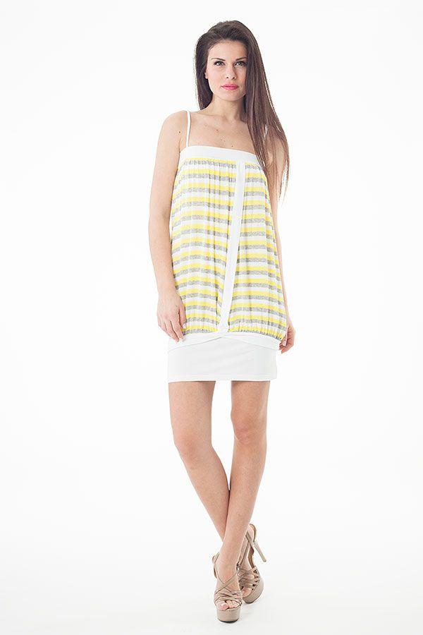Striped Stretch Fabric Mini Dress