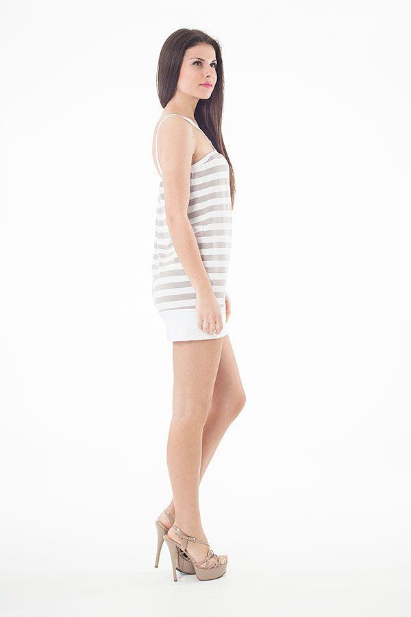 Strappy Striped Mini Dress in Khaki