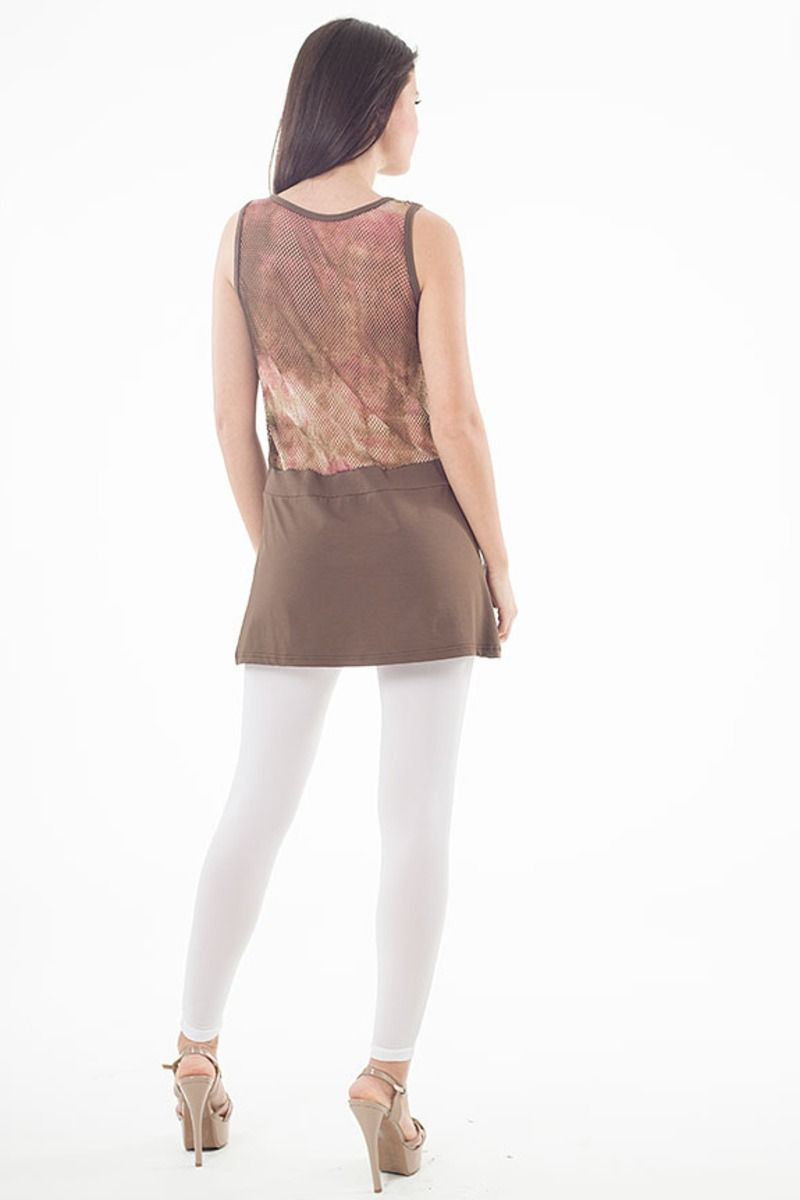 Sleeveless A Line Tunic in Brown