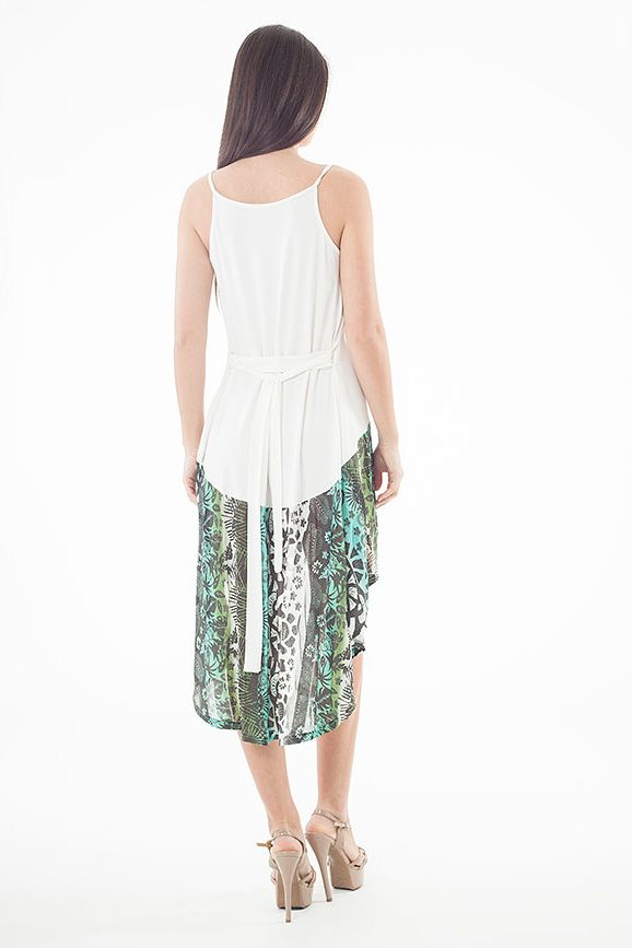 Contrast Print High Low Dress