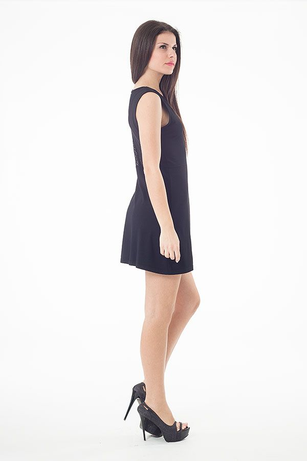 Lace Detail Skater Dress in Black